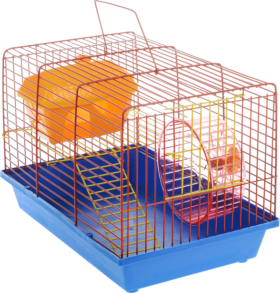 Клетка для грызунов ЗооМарк, 2-этажная, цвет: синий поддон, оранжевая решетка, 36 х 22 х 24 см. 125ж0120710Клетка ЗооМарк, выполненная из полипропилена и металла, подходит для мелких грызунов. Изделие двухэтажное, оборудовано колесом для подвижных игр и пластиковым домиком. Клетка имеет яркий поддон, удобна в использовании и легко чистится. Сверху имеется ручка для переноски. Такая клетка станет уединенным личным пространством и уютным домиком для маленького грызуна.