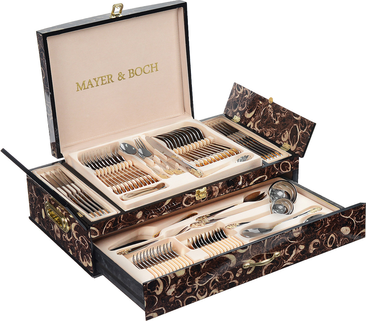 Набор столовых приборов Mayer&Boch, 73 предмета. 23450VT-1520(SR)Набор столовых приборов Mayer & Boch состоит из 73 предметов на 12 персон. В набор входит: 12 столовых ножей, 12 столовых вилок, 12 столовых ложек, 12 десертных вилок, 12 чайных ложек, 2 ложки для картофеля, 2 вилки для мяса, лопатка для торта, половник, ложка для соуса, набор для салата, ложка для сахара, щипцы для сахара и льда, ложка для сливок. Столовые приборы выполнены из высококачественной нержавеющей стали, которая отличается высокими антикоррозионными свойствами, значительной устойчивостью к воздействию кислот и щелочей. Нержавеющая сталь не изменяет вкус и цвет пищи, не выделяет вредных веществ. Элегантные золотые узоры на столовых приборах выполнены по технологии плазменного напыления, обеспечивающего высокую износостойкость покрытия.Приборы упакованы в изысканный деревянный кейс, декорированный красивым узором. Столовый набор прекрасно подходит для сервировки стола как в домашнем быту, так и в профессиональных заведениях: кафе и ресторанах. Стильный, лаконичный дизайн и отличное качество столовых приборов делают набор желанной покупкой для любого, даже самого пристрастного клиента. Набор Mayer & Boch - стильный и дорогой подарок, который можно преподнести на свадьбу, на новоселье или к юбилею. Длина столовых ножей: 23 см.Длина столовых вилок: 20,5 см.Длина столовых ложек: 20,5 см.Длина десертных вилок: 15 см.Длина чайных ложек: 14,5 см.Длина лопатки для торта: 22 см.Длина половника: 27,5 см.Размер рабочей части половника: 10 х 7,5 см. Длина половника для соуса: 17 см.Размер рабочей части половника для соуса: 7 х 5,5 см. Длина предметов набора для салата (2 предмета): 19,5 см.Длина ложки для сахара: 14 см.Длина ложек для картофеля: 20,5 см.Длина щипцов: 11 см.Длина ложки для сливок: 19 см.Длина вилок для мясных блюд: 16 см. Размер кейса: 55 х 30 х 18 см.