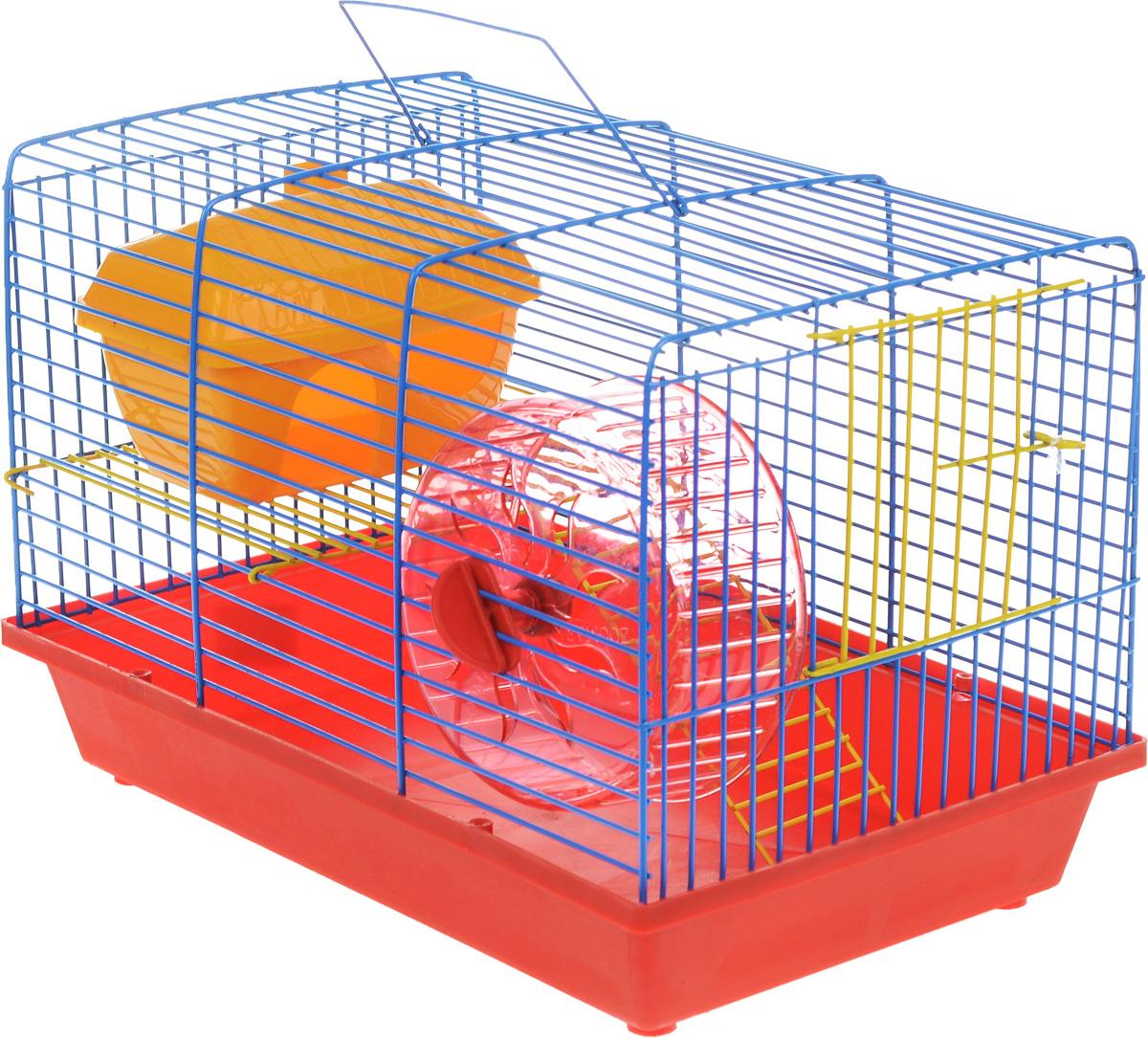 Клетка для грызунов ЗооМарк, 2-этажная, цвет: красный поддон, синяя решетка, желтый этаж, 36 х 22 х 24 см. 125ж0120710Клетка ЗооМарк, выполненная из полипропилена и металла, подходит для мелких грызунов. Изделие двухэтажное, оборудовано колесом для подвижных игр и пластиковым домиком. Клетка имеет яркий поддон, удобна в использовании и легко чистится. Сверху имеется ручка для переноски. Такая клетка станет уединенным личным пространством и уютным домиком для маленького грызуна.