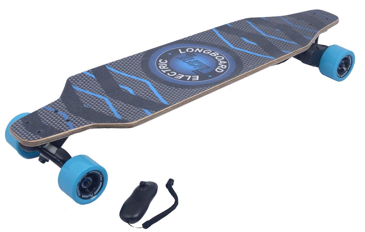 Электроскейт Backfire с рекуперативной системой торможения и bluetooth джойстиком, цвет: синийBF0002Электроскейты Backfire - это новейшее поколение электроскейтов - катайся быстрее и круче! Впечатления от движения на электрическом скейтборде Backfire как от серфинга, сноубординга, вейкбординга.На работу, учебу, тусовки — куда и когда угодно! Уникальный мотор 1200 Ватт - мощнейший в своем классе! Превосходит по мощи другие популярные модели электроскейтов до 4х раз. Обеспечивает плавность и динамику движения при интенсивных маневрах; Даже при подъеме в горку до 30 градусов. Спроектирован в соответствии с требованиями PRO-райдеров. Рекуперативная система торможения - дополнительная зарядка аккумулятора во время движения. Интуитивное управление с Bluetooth-джойстика. 2 режима скорости: Ручной до 32км/ч и круиз-контроль -специально для дальних дистанций. Регулировка скорости: Удобное ускорение и торможение трек-колесиком. 100% концентрация на езде. Не отвлекаясь на технику. Уникальная запатентованная подвеска ZeroGravity из высокопрочной стали ABEC-11.