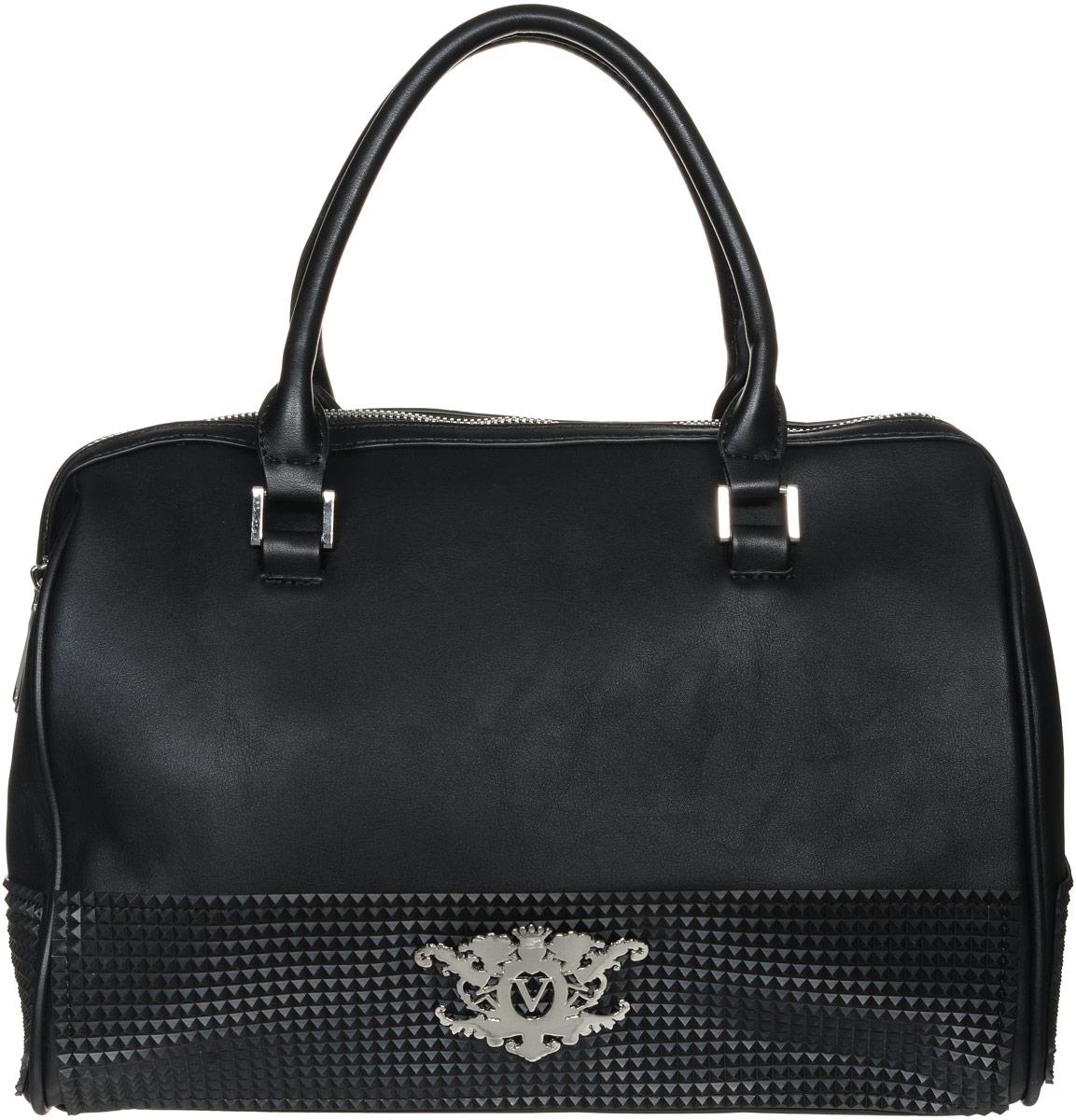 Сумка женская Vitacci, цвет: черный. V115610130-11Изысканная женская сумка Vitacci идеально дополнит ваш образ. Она изготовлена из качественной искусственной кожи и оформлена фактурными резиновыми нашивками. Лицевая часть оформлена металлической пластинкой с логотипом бренда. На тыльной стороне расположен вшитый карман на молнии. Сумка оснащена удобными ручками и закрывается на удобную молнию. Внутри расположено главное отделение, которое разделяет карман-средник на молнии. Также внутри находятся два открытых накладных кармана для телефона и мелочей и один вшитый карман на молнии. Изделие оснащено съемным регулируемым плечевым ремнем, который фиксируется с помощью замков-карабинов. Также сумка дополнена металлическими ножками, которые предотвратят повреждение дна сумки. Роскошная и модная сумка внесет элегантные нотки в ваш образ и подчеркнет ваш неповторимый стиль.