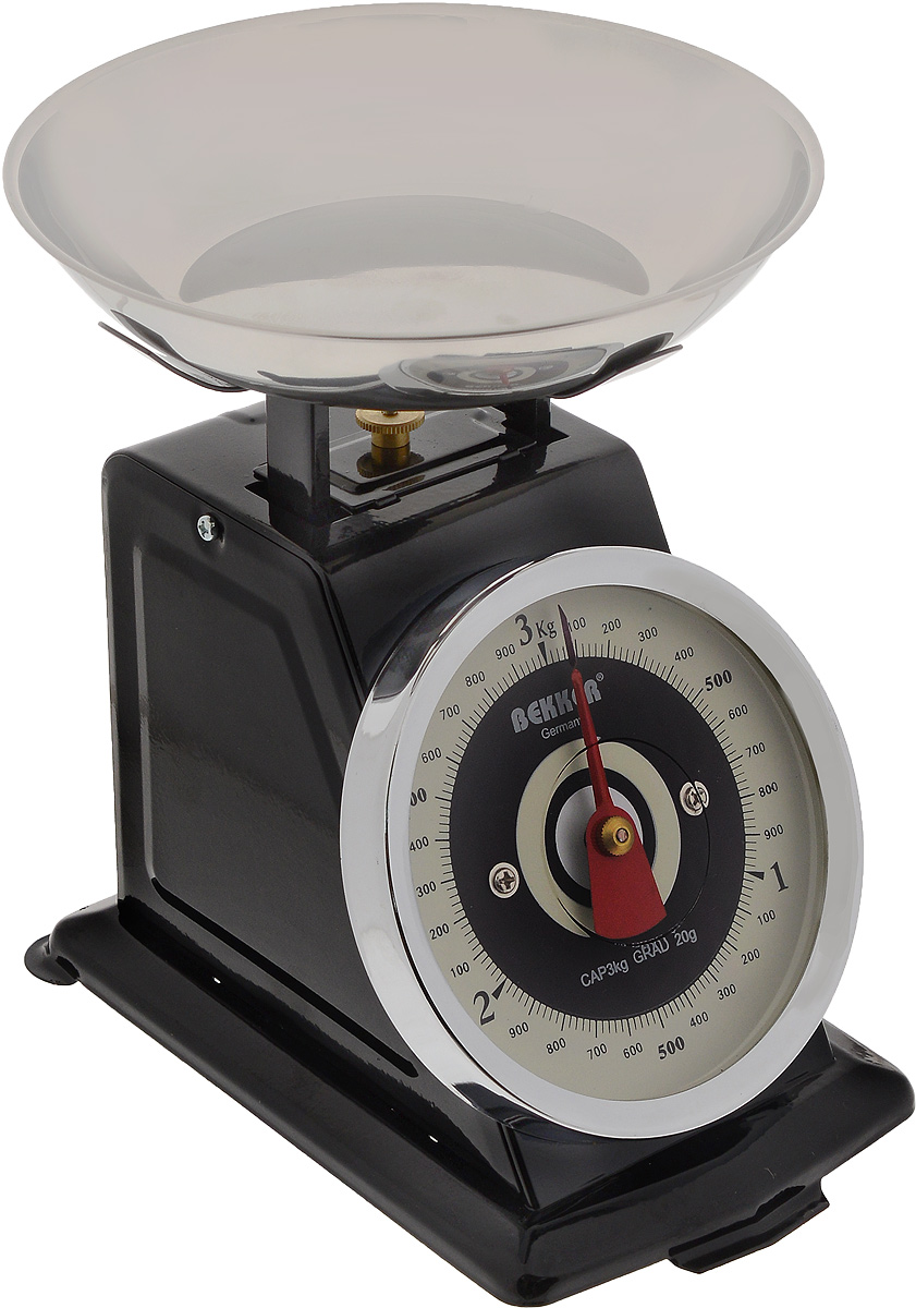 Весы кухонные Bekker, до 3 кгSKS 4521Механические кухонные весы Bekker придутся по душе каждой хозяйке и станут незаменимым аксессуаром на кухне. Корпус весов выполнен из нержавеющей стали. Съемная чаша выполнена из нержавеющей стали. Весы выдерживают до 3 килограмм.С помощью таких механических весов можно точно контролировать пропорции ингредиентов.