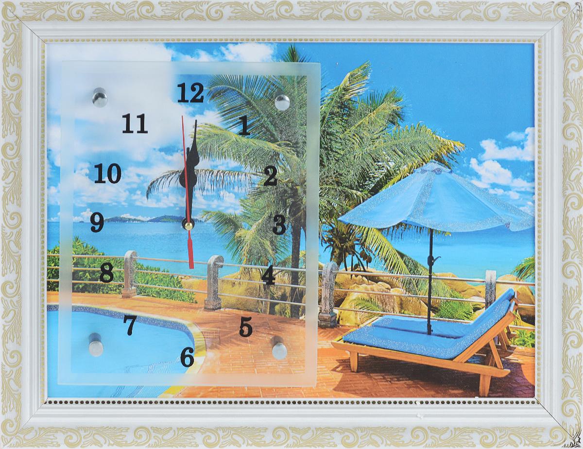 Часы-картина настенные Proffi Home Тропический рай, 30 х 40 см300194_сиреневый/грушаНастенные кварцевые часы-картина Proffi Home Тропический рай, изготовленные из ДВП и стекла, прекрасно подойдут под интерьер вашего дома. Прямоугольные часы имеют три стрелки: часовую, минутную и секундную. Изделие оформлено рамкой с красивым узором. Размер изделия: 30 х 40 см.Часы работают от 1 батарейки типа АА напряжением 1,5 В. Батарейка в комплект не входит.