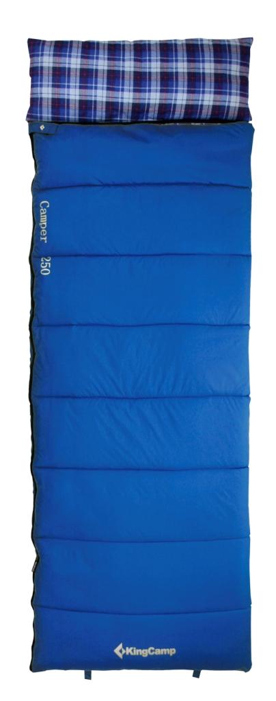 Мешок спальный KingCamp CAMPER 250 -5С, цвет: синийУТ-000050623Спальник-одеяло с подголовником KingCamp CAMPER 250 -5С - незаменимая вещь для любителей уюта и комфорта во время активного отдыха. Спальный мешок закрывается на двустороннюю застежку-молнию. Этот теплый спальный мешок-одеяло спасет вас от холода во время туристического похода, поездки на рыбалку.Спальный мешок упакован в удобный компрессионный чехол.Внешний материал: нейлон 210T RipStop.Внутренний материал: 100% хлопок (фланель).Утеплитель: 1 слой 250 г/м2 SuperLoft HollowFibre.Размеры в упакованном виде: 36 х 24 см.Размеры: (190+30) х 75 см.Вес: 1750 г.
