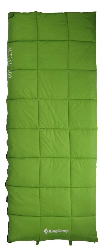 Спальник - одеяло KingCamp ACTIVE 200 -2С, цвет: зеленый010-01199-23Спальный мешок ACTIVE 200 Артикул: KS 3188Синтетический спальник-одеяло для трех сезонов Размеры в упакованном виде: 32 см х 20 см Размеры: 190х75 см Вес: 1300 г Внешний материал: полиэстер 210Т RipStop W/P;внутренний материал: 100% хлопок (фланель); наполнитель: четырехканальное волокно Hollowfibre, 200 г/м2 Клапан на застежке – молнии Двусторонняя застежка-молния Сумка для переноски из нейлона Температура: комфорт +8С - +16C, экстрим -2С Назначение: треккинг, велотуризм, кемпинг