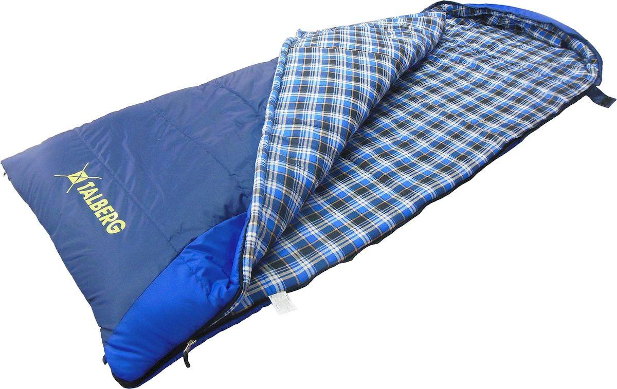 Спальник - одеяло Talberg BUSSEN -22С, левая молния, цвет: синийKOC2028LEDBUSSEN -22С арт TLS-020 Спальный мешок-одеяло с капюшоном Наружная ткань: полиэстер RipStop 210T PUВнутренняя ткань: хлопок (фланель)Утеплитель: 2x175 g/m2 Shelter (полиэфирное микроволокно)Упаковка: компрессионный мешокВес: 2150 гРазмеры: (190+40) х 90 смКомпрессионный мешок: 38x28 смТемпературный режим: комфорт 0 C... -13 Cextreme -22 C