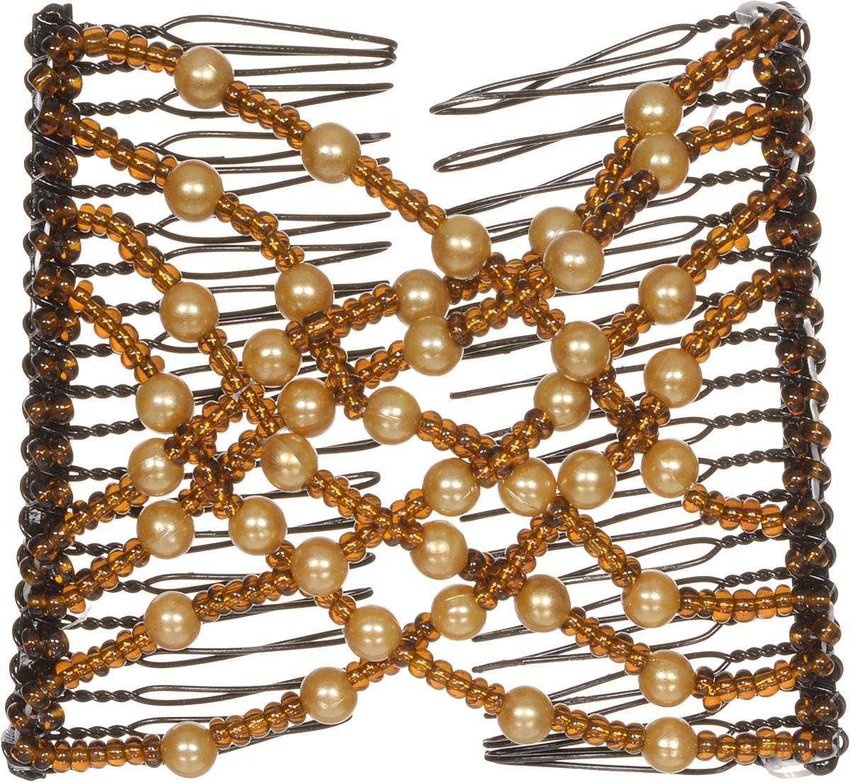 EZ-Combs Заколка Изи-Комбс, одинарная, цвет: коричневый. ЗИО_жемчугВХБкУдобная и практичная EZ-Combs подходит для любого типа волос: тонких, жестких, вьющихся или прямых, и не наносит им никакого вреда. Заколка не мешает движениям головы и не создает дискомфорта, когда вы отдыхаете или управляете автомобилем. Каждый гребень имеет по 20 зубьев для надежной фиксации заколки на волосах! И даже во время бега и интенсивных тренировок в спортзале EZ-Combs не падает; она прочно фиксирует прическу, сохраняя укладку в первозданном виде.Небольшая и легкая заколка для волос EZ-Combs поместится в любой дамской сумочке, позволяя быстро и без особых усилий создавать неповторимые прически там, где вам это удобно. Гребень прекрасно сочетается с любой одеждой: будь это классический или спортивный стиль, завершая гармоничный облик современной леди. И неважно, какой образ жизни вы ведете, если у вас есть EZ-Combs, вы всегда будете выглядеть потрясающе.