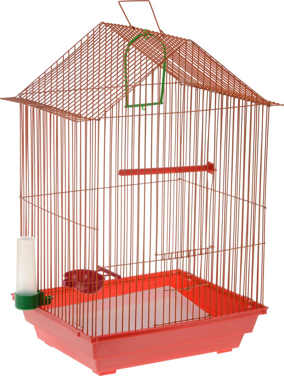 Клетка для птиц ЗооМарк, цвет: красный поддон, оранжевая решетка, 34 x 28 х 54 см0120710Клетка ЗооМарк, выполненная из полипропилена и металла с эмалированным покрытием, предназначена для мелких птиц.Изделие состоит из большого поддона и решетки. Клетка снабжена металлической дверцей. В основании клетки находится малый поддон. Клетка удобна в использовании и легко чистится. Она оснащена жердочкой, кольцом для птицы, поилкой, кормушкой и подвижной ручкой для удобной переноски. Комплектация: - клетка с поддоном, - малый поддон; - поилка; - кормушка;- кольцо.