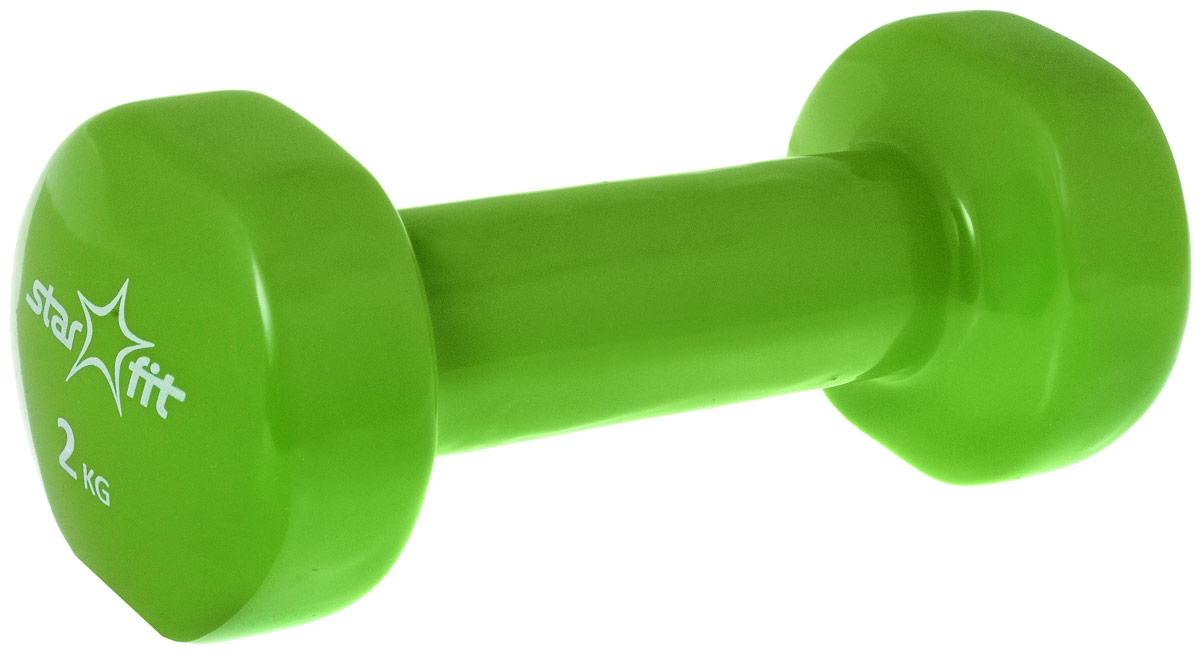 Гантель виниловая Starfit, цвет: зеленый, 2 кгSF 0085Металлическая гантель с виниловым покрытием Star Fit отлично подойдет для занятий спортом. Она помогает укрепить мышцы рук, грудной клетки, верхней части спины и плеч.Этот спортивный снаряд является идеальной дополнительной нагрузкой для любых физических упражнений. Для себя можно подобрать подходящий комплекс и неуклонно худеть, разминаясь с гантелями. В скором времени стройная фигура и отличное самочувствие станут наградой за постоянные занятия.