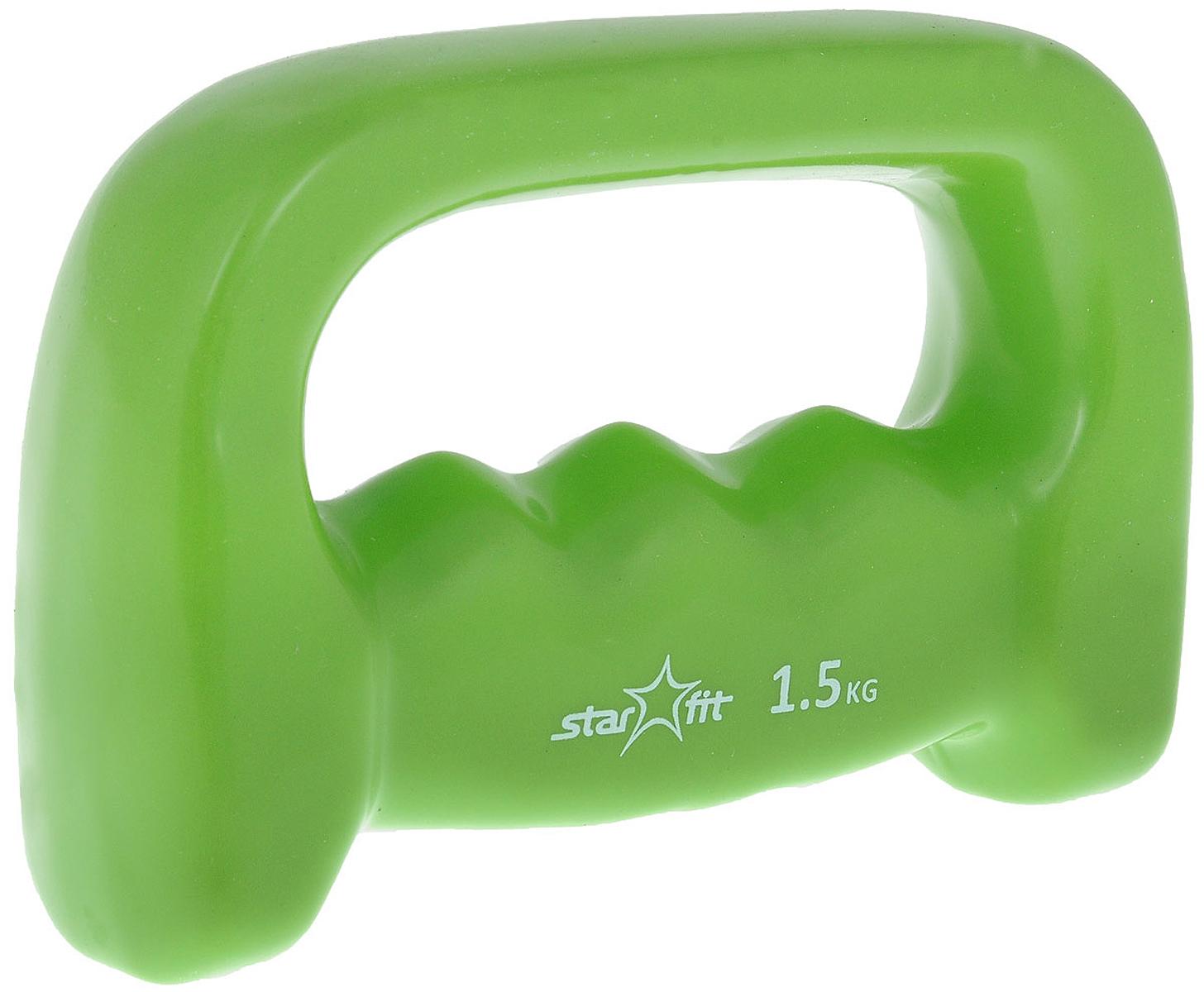Гантель виниловая Starfit, цвет: зеленый, 1,5 кгУТ-00007082Металлическая гантель с виниловым покрытием Star Fit отлично подойдет для занятий спортом. Она помогает укрепить мышцы рук, грудной клетки, верхней части спины и плеч. Гантель можно использовать во время беговых упражнений благодаря Этот спортивный снаряд является идеальной дополнительной нагрузкой для любых физических упражнений. Для себя можно подобрать подходящий комплекс и неуклонно худеть, разминаясь с гантелями. В скором времени стройная фигура и отличное самочувствие станут наградой за постоянные занятия.