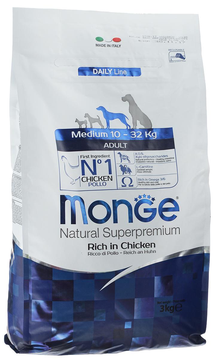 Корм сухой Monge для взрослых собак средних пород, 3 кг70004244Сухой корм для собак Monge - это полноценный корм, специально разработанный для ежедневного питания взрослых собак средних пород с нормальной физической активностью. Его формула основана на особом балансе белков и энергетических веществ с витаминно-минеральной составляющей из морских водорослей, помогающих вашим друзьям питаться каждый день, исключая возможность накопления излишнего холестерина. Рецептура имеет оптимальное соотношение жирных кислот Омега-3 и Омега-6.Состав: мясо цыпленка (мин. 10% свежего и мин. 26% дегидратированного), рис (мин. 26%), кукуруза, свекольная мякоть, куриный жир, пивные дрожжи, селедочная мука, рыбий жир, Юкка Шидигера, цистин, ФОС (фруктоолигосахариды), морские водоросли, хлорид натрия, холинхлорид, витамин C, инозит, мононитрат тиамина (витамин B1), рибофлавин (витамин B2), гидрохлорид пиридоксина (витамин B6), кобаламин (витамин B12), d-пантотеновая кислота, биотин (витамин H), ниацин (витамин PP), фолиевая кислота, железо (карбонат железа), цинк (оксид цинка), марганец (оксид марганца), йод (иодид калия), селен (натрия селенит).Гарантированный анализ: влажность 8,00%; сырой белок 26,00%; сырые жиры 12,50%; сырая клетчатка 2,50%; сырая зола 6,50%; кальций 1,50%; фосфор 0,90%; линолевая кислота 3,00%. Витаминно-минеральные добавки (на один кг продукта): витамин A 15,000 МЕ; витамин D3 1,000 МЕ; витамин E (альфа-токоферол мин. 91%) 100 мг; медь (пентагидрат сульфата меди) 24 мг.Товар сертифицирован.