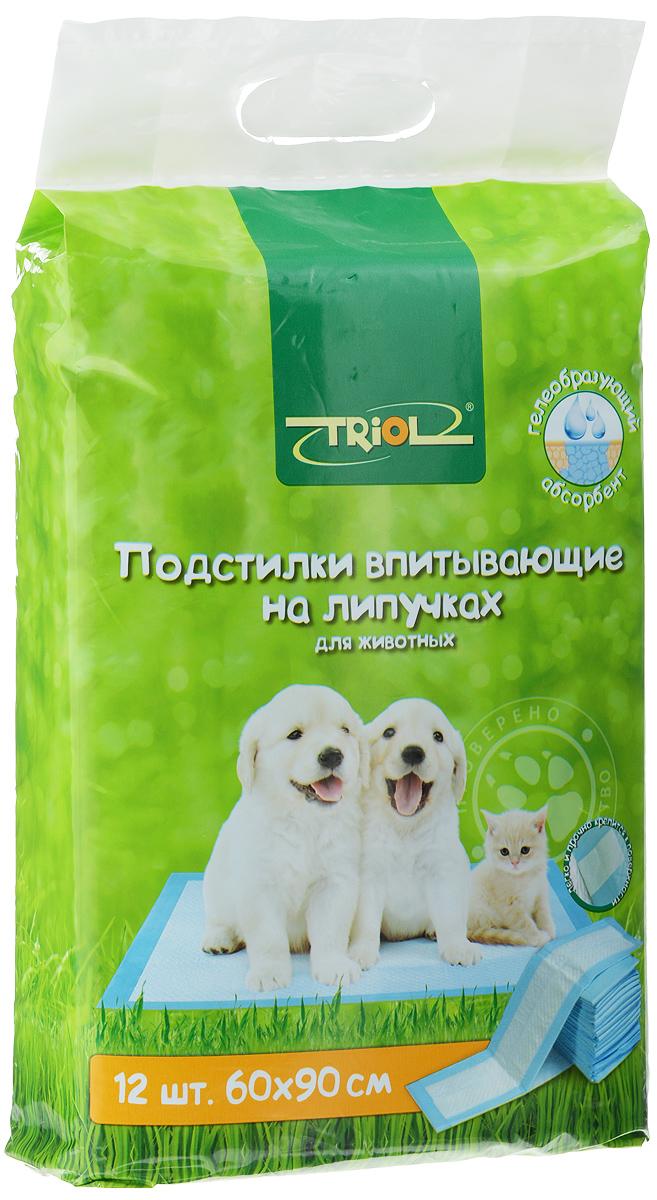 Подстилки для домашних животных Triol, впитывающие, на липучках, 60 х 90 см, 12 шт