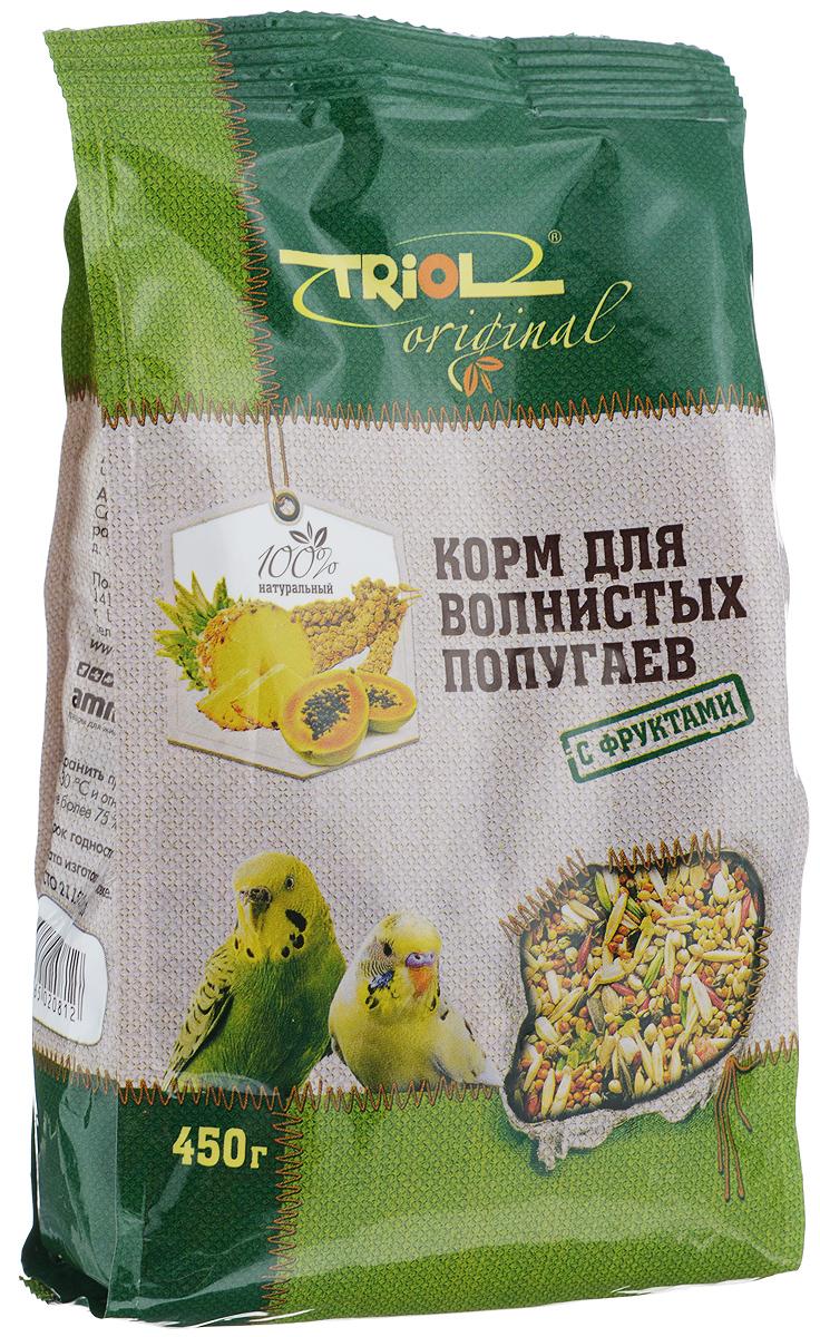 Корм для волнистых попугаев Triol, с фруктами, 450 г0120710Полнорационный корм Triol разработан в соответствии с пищевыми потребностями волнистых попугаев и содержит только натуральные компоненты. Семена, входящие в состав корма, богаты эфирными маслами, необходимыми для здоровья птиц. Добавление в корм сухих фруктов обеспечивает вашего питомца дополнительными витаминами, микро- и макроэлементами.Товар сертифицирован.