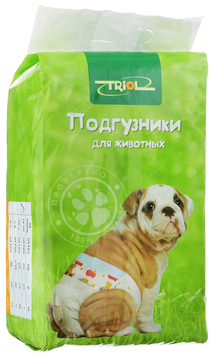 Подгузники для домашних животных Triol, 16-41 кг, 10 шт. Размер L0120710Подгузники для домашних животных Triol подходит для собак весом от 16 до 41 кг, с обхватом талии 68 ± 10 см идлиной 59 см. Внутренняя поверхность подгузника изготовлена исключительно из мягких и эластичных, содержащих хлопок нетканых материалов. Быстро впитывают влагу и оставляют поверхность сухой. Во избежание аллергических реакций не используются натуральные или искусственные отдушки. Впитывающий слой состоит из натуральной распушенной целлюлозы, которая является отличным абсорбентом. Внешний слой надежно удерживает жидкость внутри, а эластичные боковые барьеры позволяют избежать протекания. Кроме этого, верхний слой декорирован забавным рисунком.Комплектация: 10 шт.