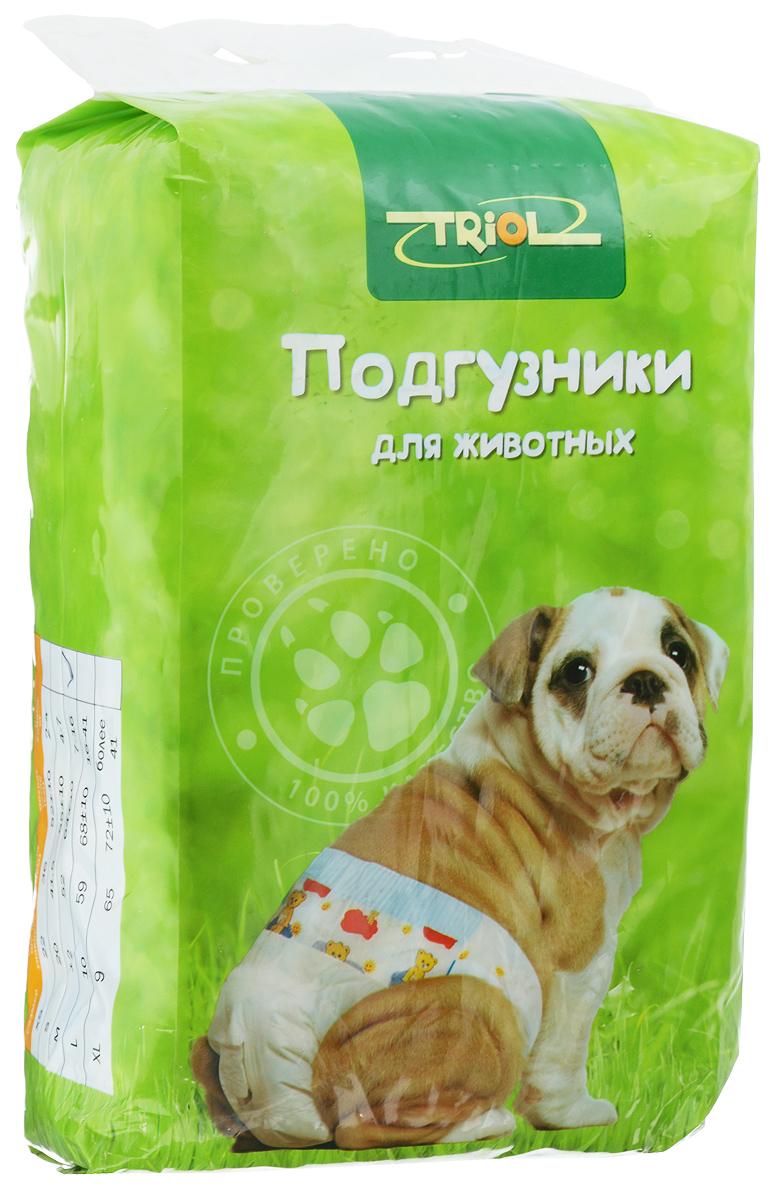 Подгузники для домашних животных Triol, 7-16 кг, 12 шт. Размер M0120710Подгузники для домашних животных Triol подходит для собак весом от 7 до 16 кг, с обхватом талии 64 ± 10 см идлиной 52 см. Внутренняя поверхность подгузника изготовлена исключительно из мягких и эластичных, содержащих хлопок нетканых материалов. Быстро впитывают влагу и оставляют поверхность сухой. Во избежание аллергических реакций не используются натуральные или искусственные отдушки. Впитывающий слой состоит из натуральной распушенной целлюлозы, которая является отличным абсорбентом. Внешний слой надежно удерживает жидкость внутри, а эластичные боковые барьеры позволяют избежать протекания. Кроме этого, верхний слой декорирован забавным рисунком.Комплектация: 12 шт.