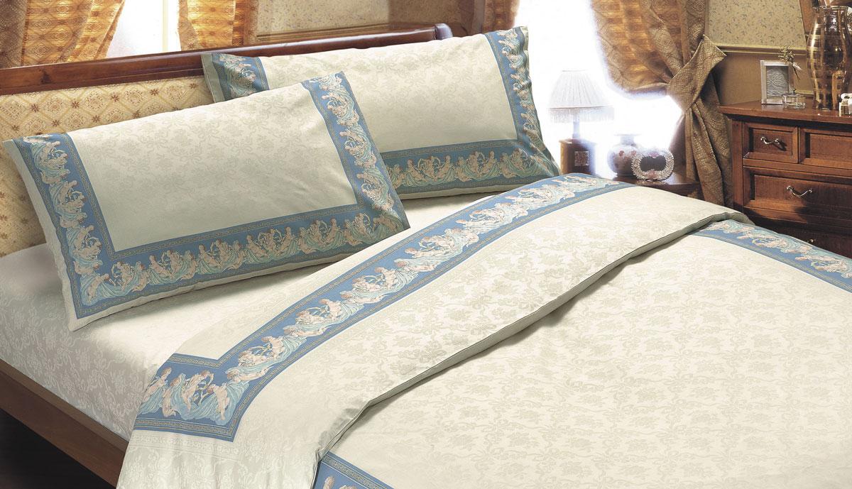 Комплект белья Seta Ангелы, 2-спальный, наволочки 70x70, цвет: голубой01713204Постельное белье из коллекции, которая неизменно привлекает своим стилем, превращая любую спальню в настоящее произведение искусства! Коллекция создана из тонкой и прочной хлопчатобумажной ткани полотняного переплетения. Уникальный винтажный рисунок с эффектом белое на белом и эксклюзивная рамочная печать (один пододеяльник - один раппорт) делает коллекцию неповторимой. Выдерживают большое количество стирок, хорошо гладится, воздухопроницаемая ткань. Бязевое бельё выдерживает бесконечное число стирок, к тому же стоит сравнительно недорого.Лучшее соотношение цены, качества ткани и современных дизайнов.Всегда хит сезона и лидер продаж. Изготовлено из 100 % хлопка.