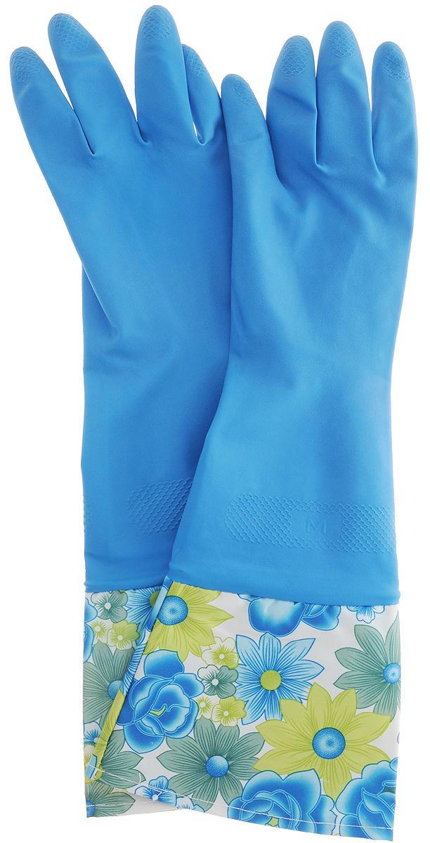 Перчатки латексные с манжетами Youll love, цвет: синий. Размер МCLP446Латексные перчатки Youll love отлично защищают руки от загрязнений и воздействия моющих средств. Дополнительную защиту от грязи и бытовой химии обеспечивает удлиненная манжета. Прочные и долговечные. Хлопковое напыление обеспечивает комфортное использование.