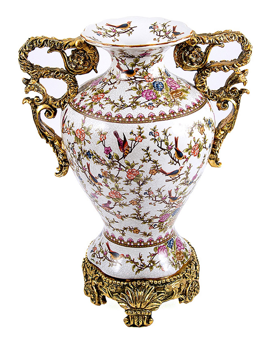 Ваза Русские Подарки, высота 38 см. 151236FS-80264Ваза Русские Подарки, выполненная из керамики, украсит интерьер вашего дома или офиса. Оригинальный дизайн и красочное исполнение создадут праздничное настроение.Такая ваза подойдет и для цветов, и для декора интерьера. Кроме того - это отличный вариант подарка для ваших близких и друзей.Правила ухода: мыть теплой водой с применением нейтральных моющих средств.