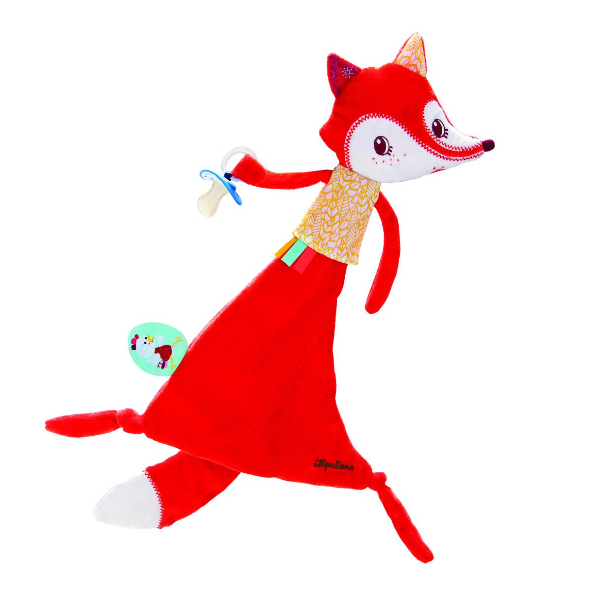 Lilliputiens Игрушка-обнимашка Лиса Алиса с держателем для пустышки набор для вышивания лиса 12 х12 см алиса алиса