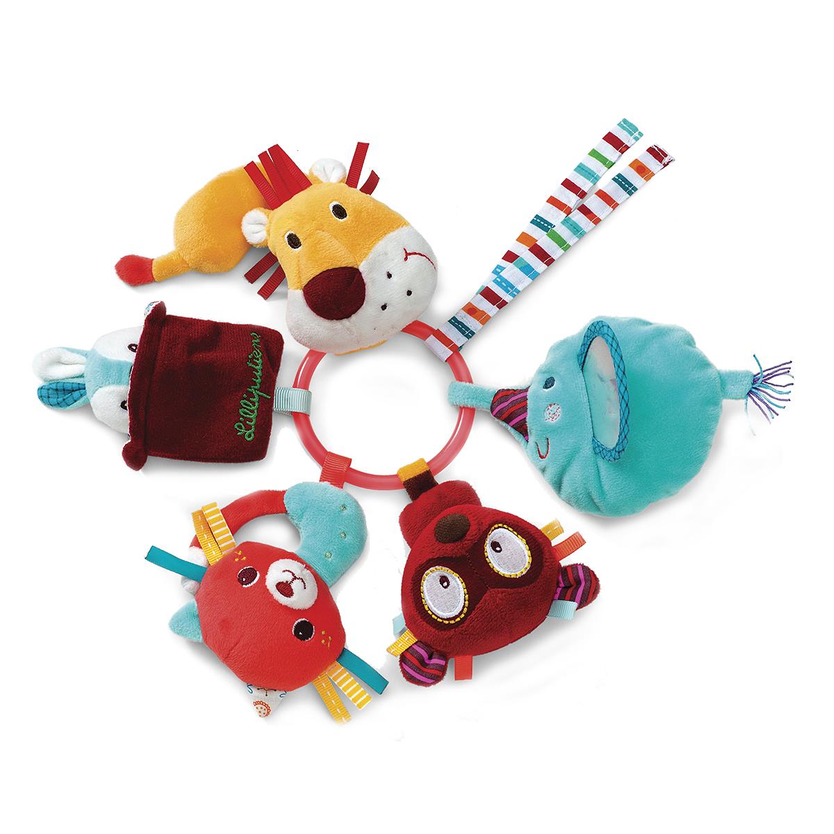 Lilliputiens Кольцо с погремушками Цирк Шапито lilliputiens ферма кольцо с мягкими игрушками