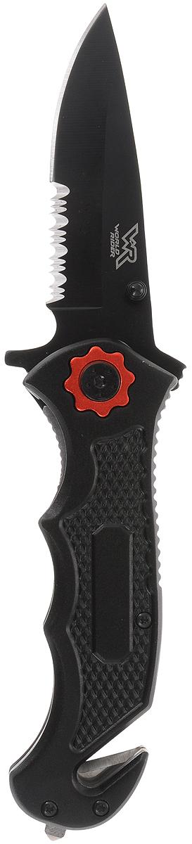 Туристический нож World Rider, цвет: черный, красный. WR 5012WR 5012_черный, красныйНож World Rider незаменим в походе, на охоте, рыбалке, пикнике и в быту. В одном корпусе содержит большое лезвие, резак для ремней и молоток для аварийного разбития стекла. Предметы изготовлены из высококачественной стали. Эргономичная рукоятка обеспечивает уверенных захват и исключает скольжение инструмента.Благодаря плавному движению механизма инструменты открываются и закрываются без усилий. Длина в сложенном виде: 12,5 см.Длина в разложенном виде: 20,5 см.Длина лезвия ножа: 7,5 см.