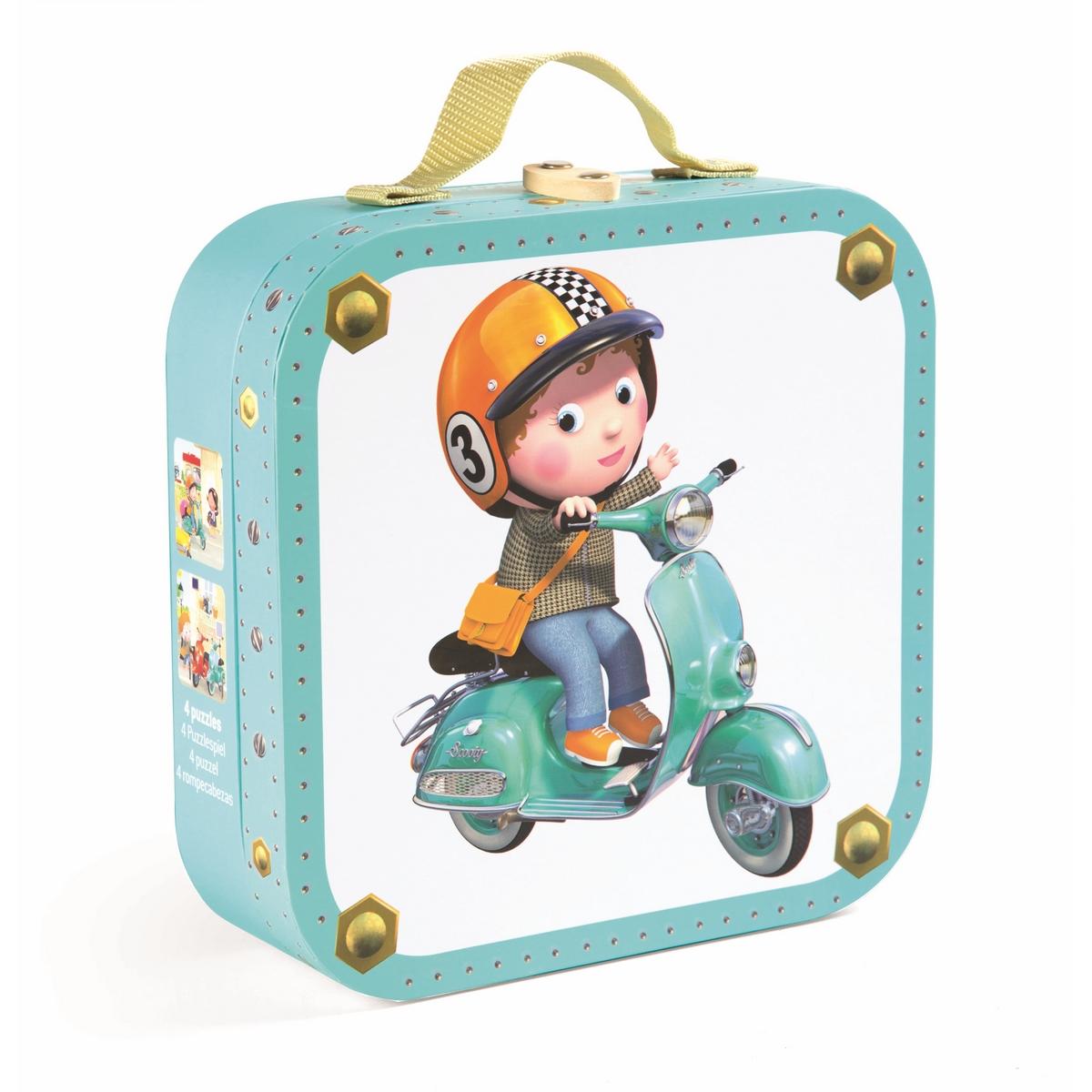 Janod Набор пазлов для малышей На скутере на 6, 9, 12 и 16 деталей janod пазл я мама 4 в 1