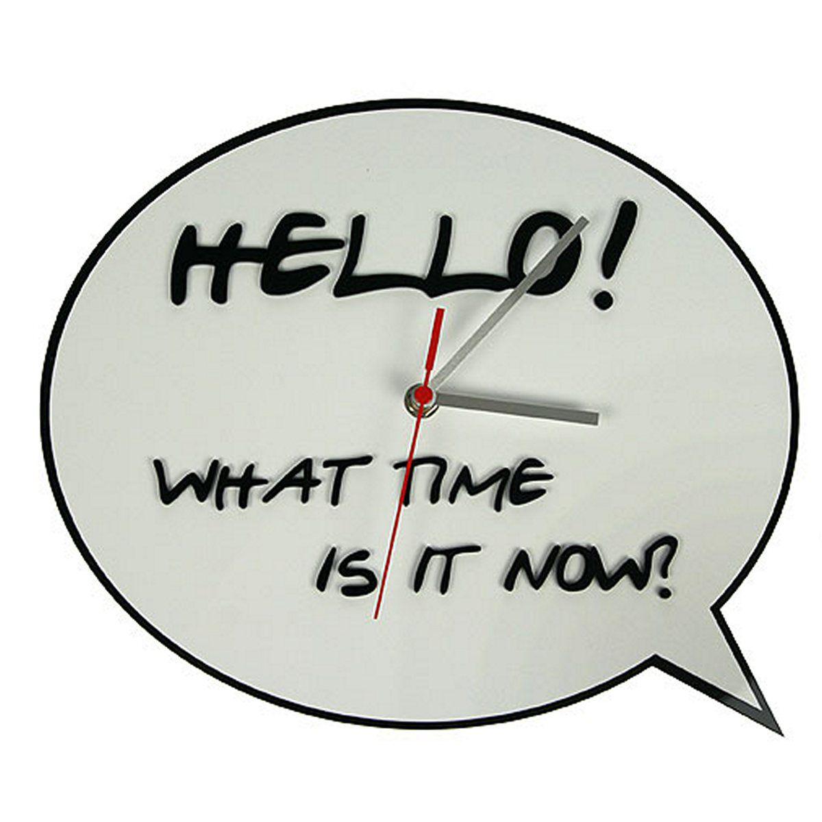 Часы настенные Русские Подарки, диаметр 30 см. 122421SC - WCD10PНастенные кварцевые часы Русские Подарки изготовлены из полиамида. Корпус оформлен надписью на английском языке: Hello! What time is it now?. Часы имеют три стрелки - часовую, минутную и секундную. С обратной стороны имеетсяпетелька для подвешивания на стену.Такие часы красиво и оригинально оформят интерьер дома или офиса. Также часы могут стать уникальным, полезным подарком для родственников, коллег, знакомых и близких.Часы работают от батареек типа АА (в комплект не входят).