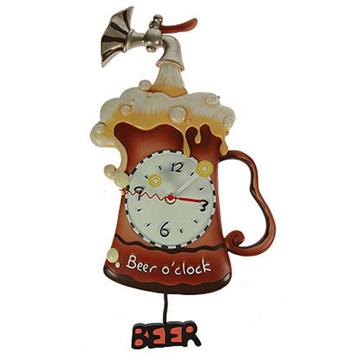 Часы настенные Русские Подарки Пиво, с маятником, 25 х 7 х 52 см. 224865224865Настенные часы с маятником Русские Подарки отлично подойдут в качестве сувенирного подарка родным и близким. Модель выполнена из высококачественных материалов - полистоун, метал, полимер. Часы отличаются оригинальным дизайном в виде кружки пива и великолепным качеством исполнения.
