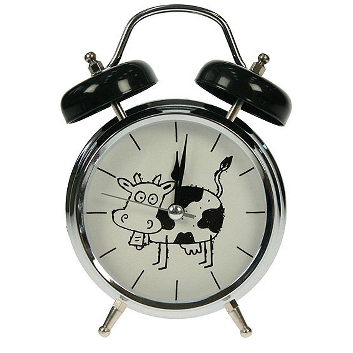 Часы настольные Русские Подарки Корова, с функцией будильника, 12 х 6 х 17 см. 23241694672Настольные кварцевые часы Русские Подарки Корова изготовлены из металла, циферблат защищен стеклом. Оригинальное оформление в виде смешной коровы поднимет настроение, а благодаря функции будильника вы проснетесь вовремя. Часы имеют три стрелки - часовую, минутную и секундную.Такие часы украсят интерьер дома или рабочий стол в офисе. Также часы могут стать уникальным, полезным подарком для родственников, коллег, знакомых и близких.Часы работают от батареек типа АА (в комплект не входят).