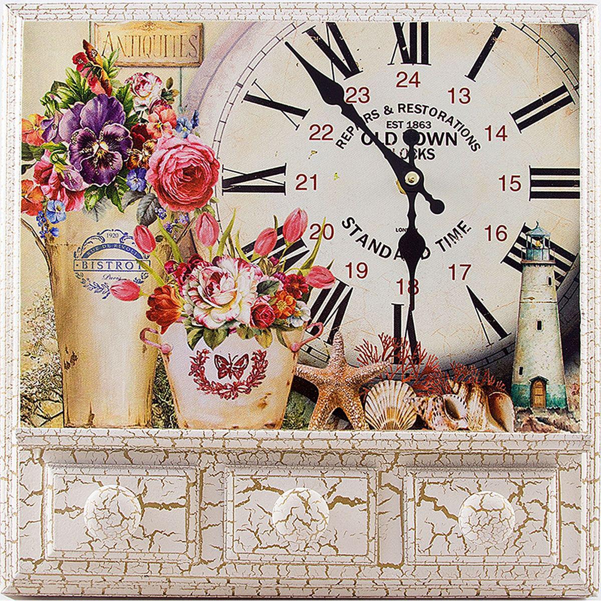 Часы настенные Русские Подарки, 32 х 8 х 32 см. 2961694672Настенные кварцевые часы Русские Подарки изготовлены из МДФ. Корпус оформлен изображением цветов, ракушек и маяка. Часы имеют две стрелки - часовую и минутную. С обратной стороны имеетсяпетелька для подвешивания на стену.Изящные часы красиво и оригинально оформят интерьер дома или офиса. Также часы могут стать уникальным, полезным подарком для родственников, коллег, знакомых и близких.Часы работают от батареек типа АА (в комплект не входят).