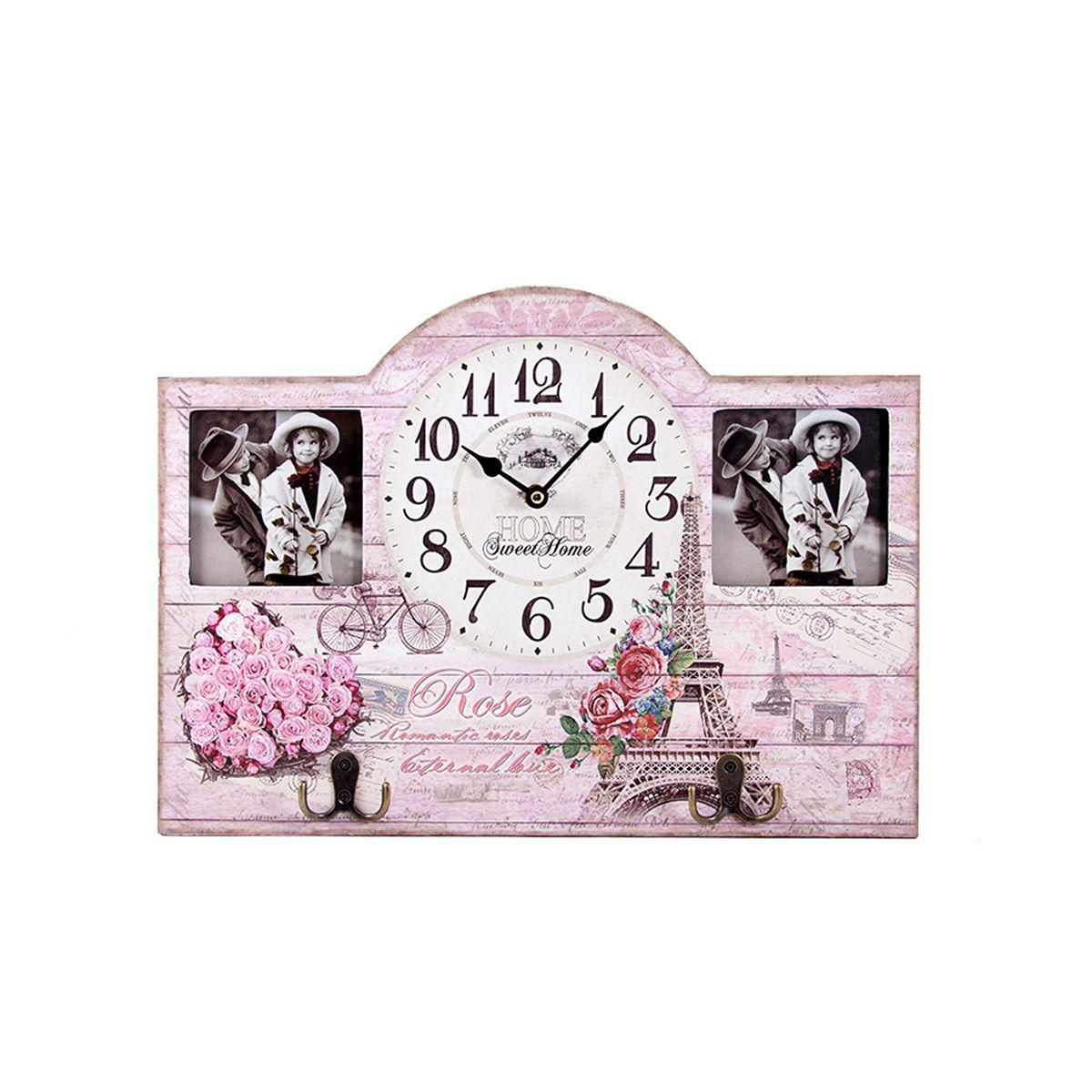 Часы настенные Русские Подарки Париж, 45 х 5 х 32 см. 2963254 009318Настенные кварцевые часы Русские Подарки Париж изготовлены из МДФ. Корпус оформлен изображением цветов и Эйфелевой башни, а также украшен вставками с изображением детей. Корпус часов имеет два металлических крючка, на которые можно повесить ключи или прочие мелочи. Часы имеют две стрелки - часовую и минутную. С обратной стороны имеетсяпетелька для подвешивания на стену.Изящные часы красиво и оригинально оформят интерьер дома или офиса. Также часы могут стать уникальным, полезным подарком для родственников, коллег, знакомых и близких.Часы работают от батареек типа АА (в комплект не входят).