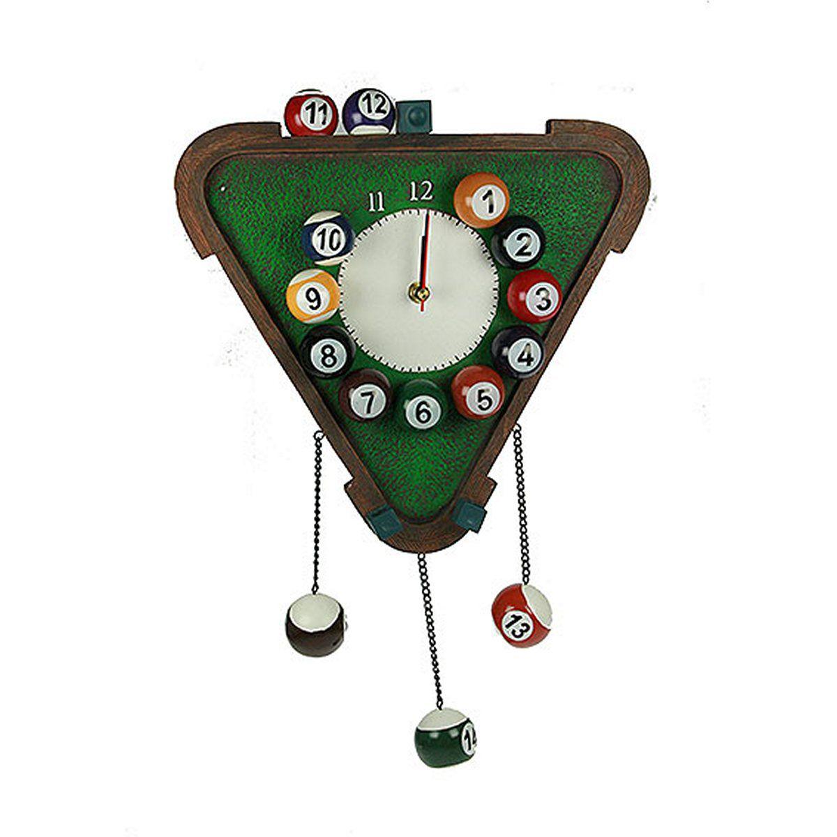 Часы настенные Русские Подарки Бильярд, 30 х 45 х 5 см. 3641536415Настенные кварцевые часы Русские Подарки Бильярд изготовлены из полистоуна. Корпус оригинально оформлен элементами игры в бильярд. Часы имеют три стрелки - часовую, минутную и секундную. С обратной стороны имеетсяпетелька для подвешивания на стену. Такие часы красиво и необычно оформят интерьер дома или офиса. Также часы могут стать уникальным, полезным подарком для родственников, коллег, знакомых и близких.Часы работают от батареек типа АА (в комплект не входят).