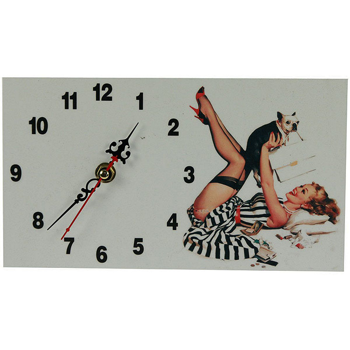 Часы настольные Русские Подарки Пин-ап, 13 х 23 см. 3823129636Настольные кварцевые часы Русские Подарки Пин-ап изготовлены из МДФ. Изделие оригинально оформлено изображением девушки с собачкой в стиле Пин-ап. Часы имеют три стрелки - часовую, минутную и секундную.Такие часы украсят интерьер дома или рабочий стол в офисе. Также часы могут стать уникальным, полезным подарком для родственников, коллег, знакомых и близких.Часы работают от батареек типа АА (в комплект не входят).