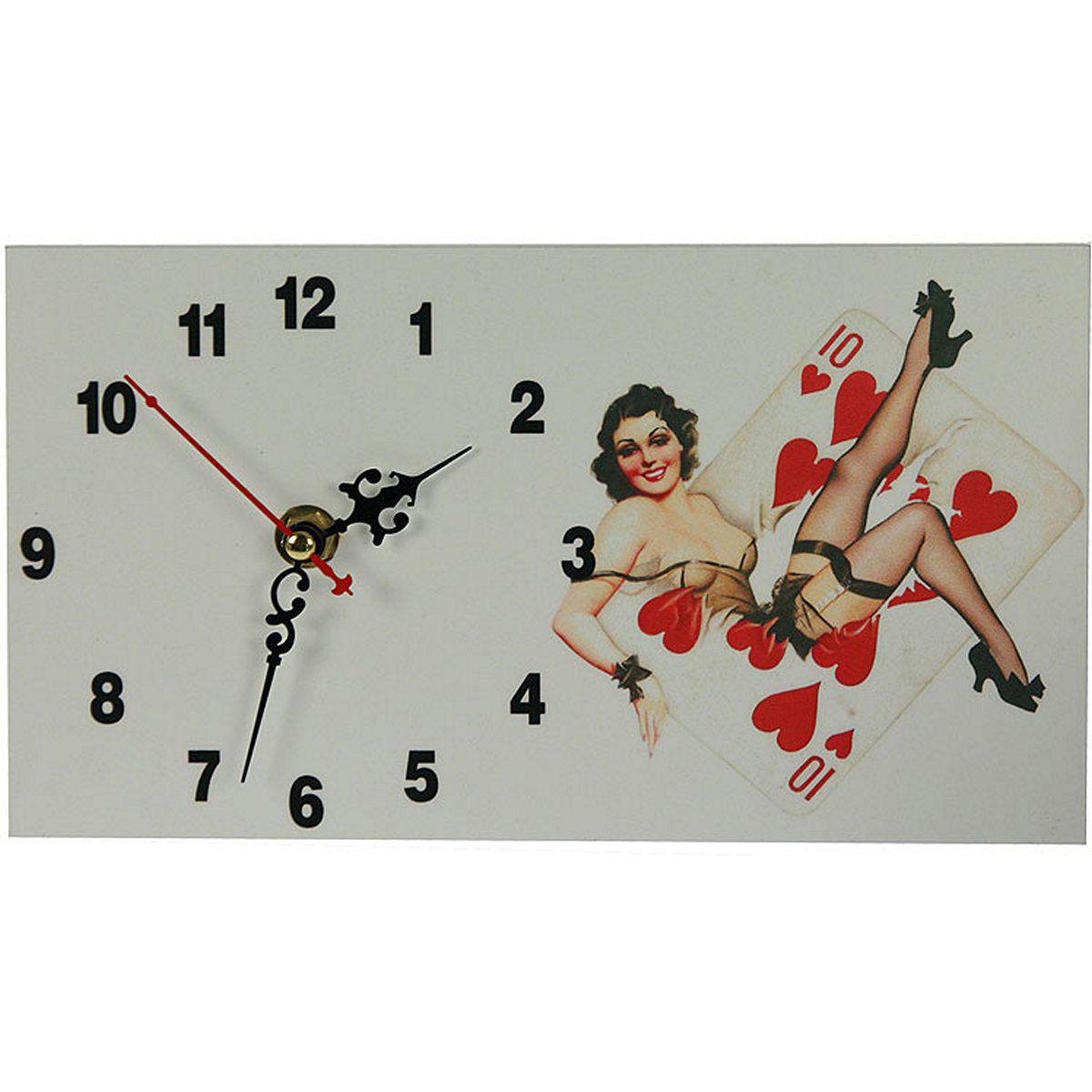 Часы настольные Русские Подарки Пин-ап, 13 х 23 см. 3823237385Настольные кварцевые часы Русские Подарки Пин-ап изготовлены из МДФ. Изделие оригинально оформлено изображением девушки в стиле Пин-ап. Часы имеют три стрелки - часовую, минутную и секундную.Такие часы украсят интерьер дома или рабочий стол в офисе. Также часы могут стать уникальным, полезным подарком для родственников, коллег, знакомых и близких.Часы работают от батареек типа АА (в комплект не входят).
