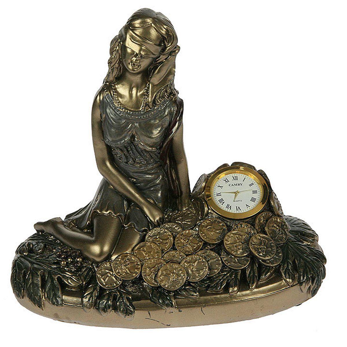 Часы настольные Русские Подарки Римская богиня счастья и удачи - Фортуна, 25 х 14 х 22 см. 5934494672Настольные кварцевые часы Русские Подарки Римская богиня счастья и удачи - Фортуна изготовлены из полистоуна, циферблат защищен стеклом. Часы имеют три стрелки - часовую, минутную и секундную.Изящные часы красиво и оригинально оформят интерьер дома или рабочий стол в офисе. Также часы могут стать уникальным, полезным подарком для родственников, коллег, знакомых и близких.Часы работают от батареек типа АА (в комплект не входят).