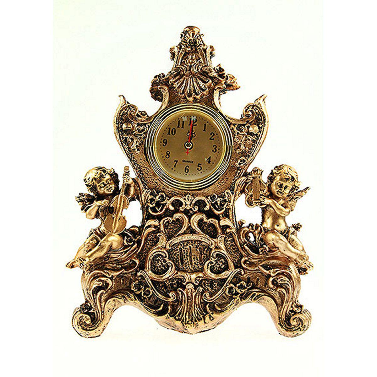 Часы настольные Русские Подарки Ангелочки, 22 х 10 х 31 см. 5936929616Настольные кварцевые часы Русские Подарки Ангелочки изготовлены из полистоуна, циферблат защищен стеклом. Часы имеют три стрелки - часовую, минутную и секундную.Изящные часы красиво и оригинально оформят интерьер дома или рабочий стол в офисе. Также часы могут стать уникальным, полезным подарком для родственников, коллег, знакомых и близких.Часы работают от батареек типа АА (в комплект не входят).