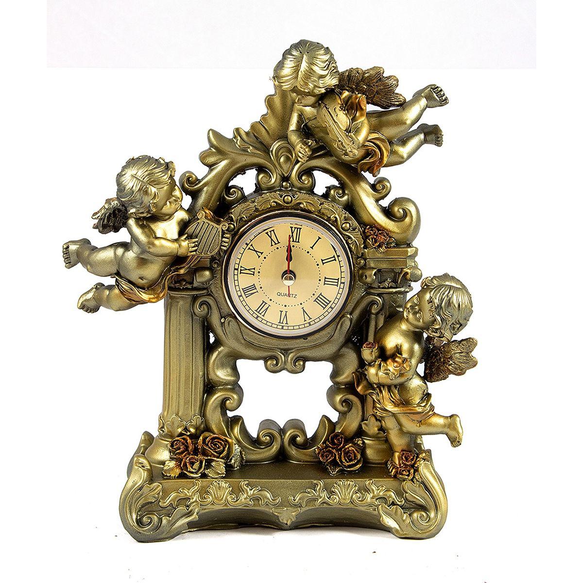Часы настольные Русские Подарки Ангелы, 16 х 23 см. 59422138604Настольные кварцевые часы Русские Подарки Ангелы изготовлены из полистоуна, циферблат защищен стеклом. Часы имеют три стрелки - часовую, минутную и секундную.Изящные часы красиво и оригинально оформят интерьер дома или рабочий стол в офисе. Также часы могут стать уникальным, полезным подарком для родственников, коллег, знакомых и близких.Часы работают от батареек типа АА (в комплект не входят).