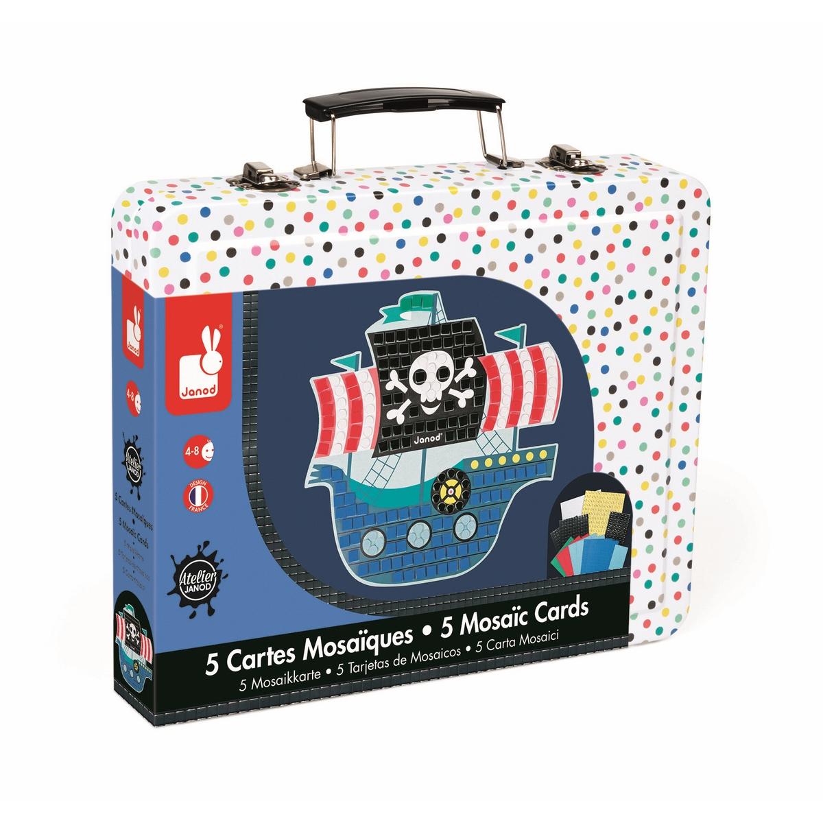 5 пронумерованных цветных заготовок - картинок, 4 листа цветных квадратных наклеек мозаика (7x7 мм.), 2 листа цветных круглых наклеек мозайка (O 5 мм.), 1 лист цветных, блестящих, квадратных наклеек мозаика (7x7 мм.), 2 листа цветных, блестящих круглых наклеек мозайка (O 5 мм.), 1 удобный чемоданчик для хранения.
