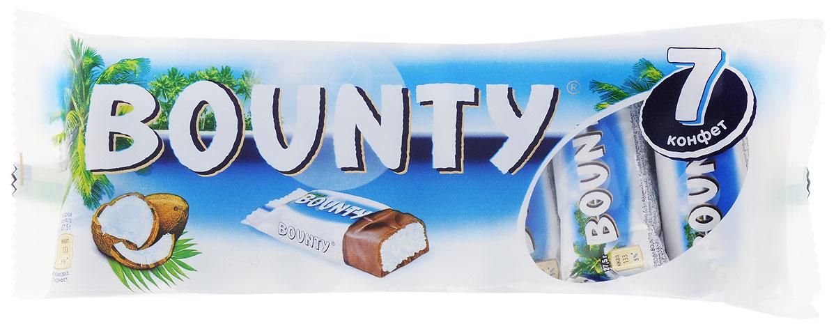 Bounty Мультипак 7 батончиков, 192,5 г0120710Bounty - это нежнейшая мякоть кокоса, покрытая молочным шоколадом, изготовленным из отборных ингредиентов. Съешь Bounty и представь, что находишься на тропическом острове, забудь заботы и тревоги, получи райское наслаждение.