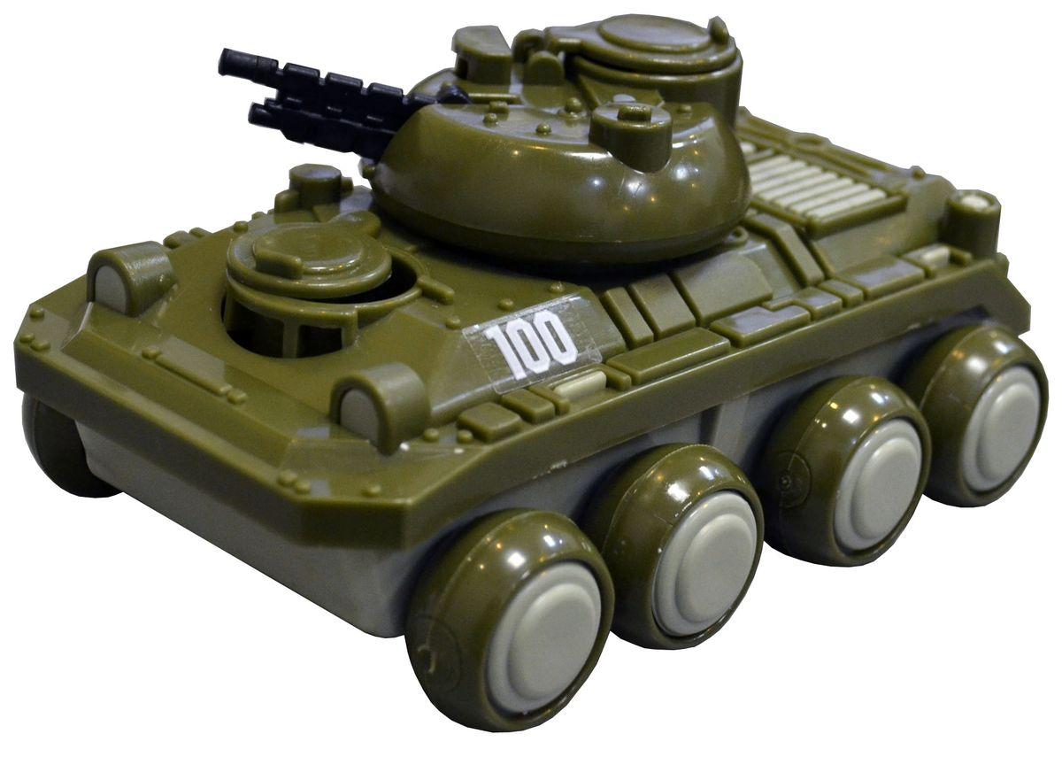 Военный бронированный танк предназначен для транспортировки личного состава пехоты к месту назначения. Эта игрушечная модель создана по образу и подобию оригинала. Большие колеса позволяют следовать по различного-рода поверхностям, ровным и бугристым. Башня с пушкой позволят защитить личный состав от нападения, ведь оружие, которым оснащен автомобиль может поворачиваться в разные стороны и выбирать высоту прицела. Три люка, позволяющие попасть внутрь «БМП», открываются и закрываются. Из чего сделана игрушка (состав): Пластик.