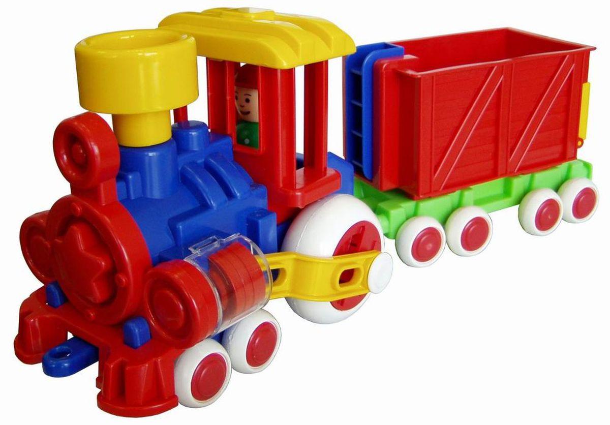 """Симпатичный разноцветный паровозик """"Ромашка"""" для игр дома и в детском саду. Человечек вынимается. Поршни в цилиндрах двигаются, паровозик можно катать. Вагончик отцепляется. Отличная игрушка для сюжетно - ролевой игры."""