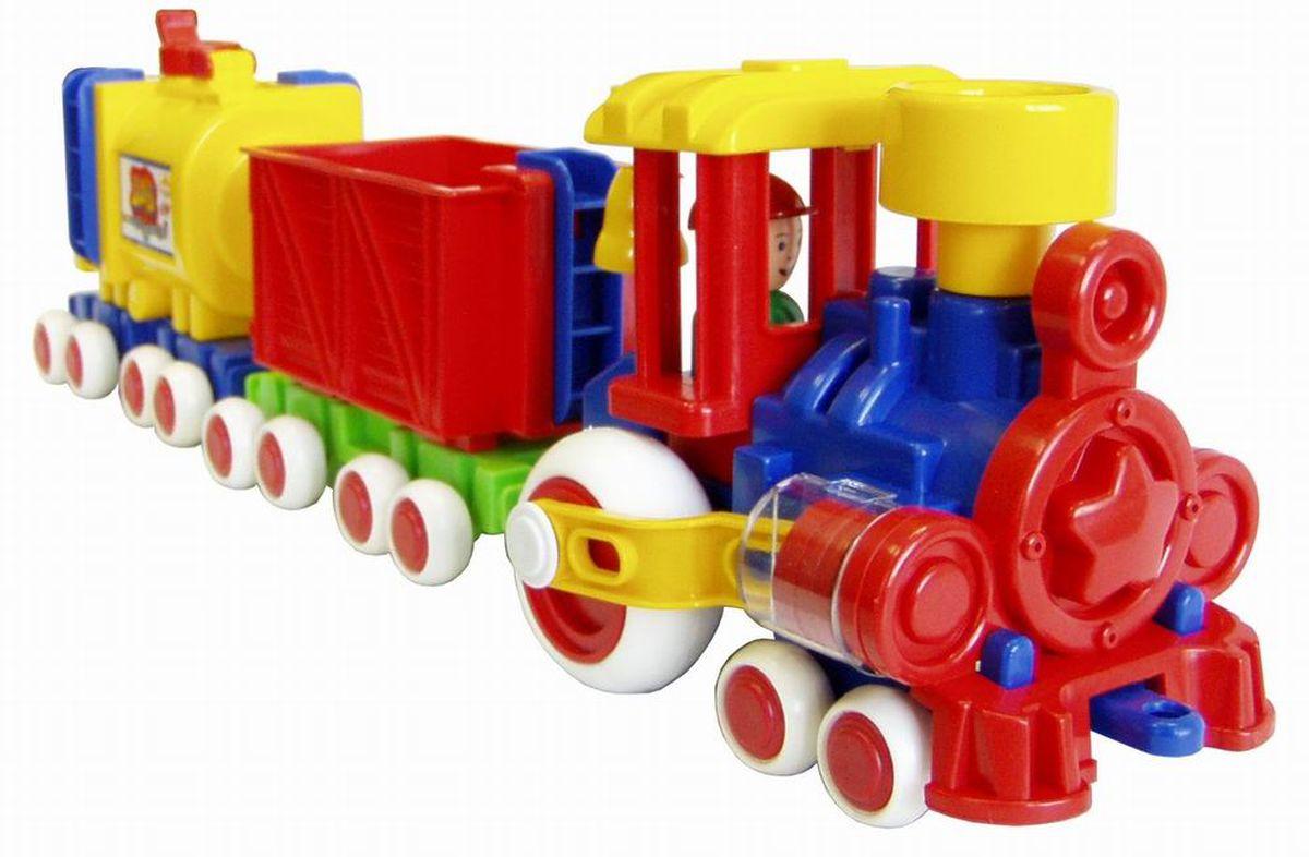 Игрушка паровозик Ромашка с 2 вагонами - это яркая игрушка для малышай. Сделано из прочной и безопасной пластмассы. Вагончики отцепляются друг от друга, поршни двигаются, человечек-машинист вытаскивается.