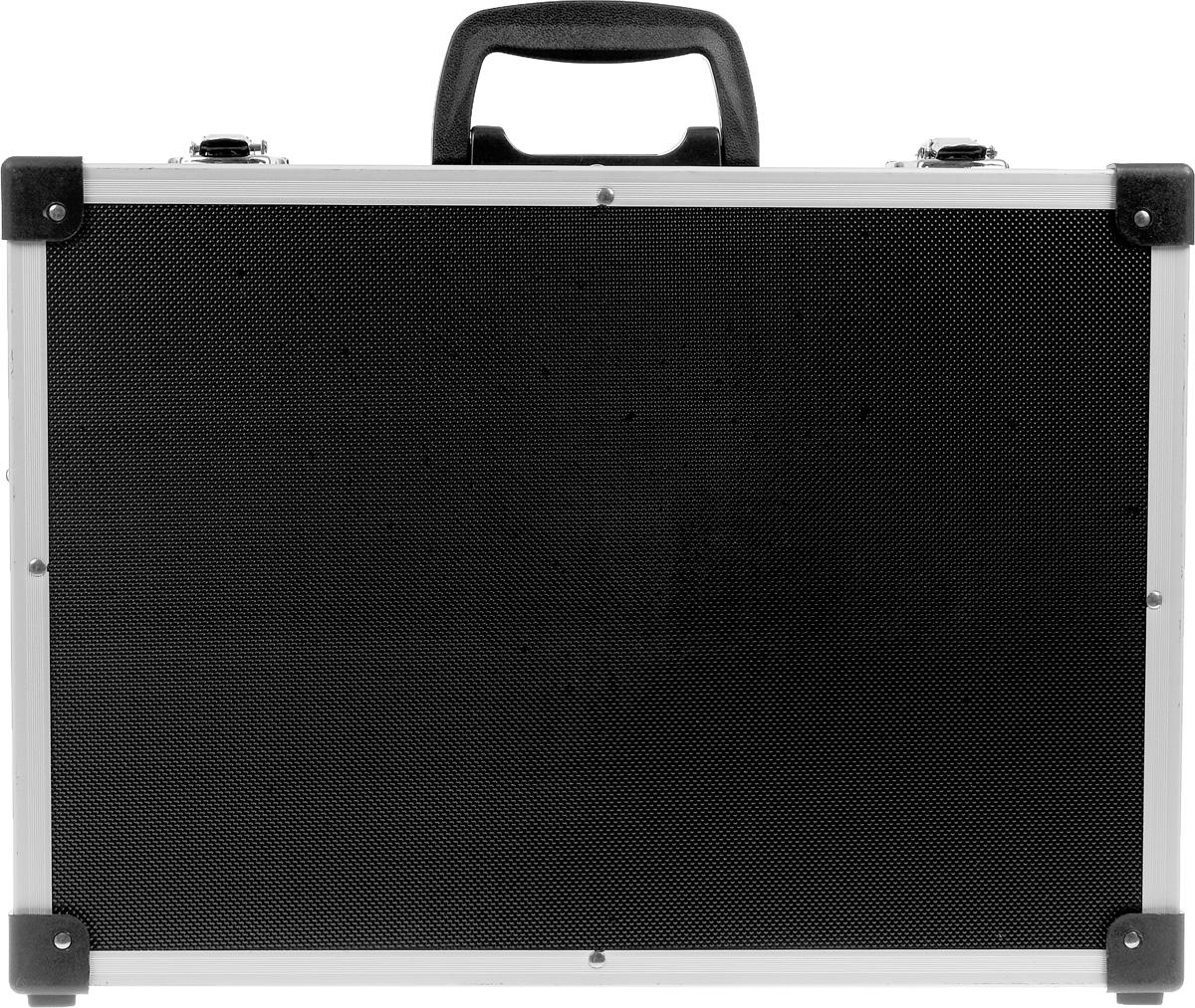 Ящик для инструментов алюминиевый FIT, цвет: черный, 43 х 31 х 13 см98293777Ящик-чемодан FIT предназначен для хранения и удобной транспортировки инструментов. Изготовлен из алюминия, а внутренняя отделка выполнена из мягкого пористого материала, что обеспечивает более бережное хранение инструмента. Переставные перегородки позволяют максимально эффективно использовать внутреннее пространство. Чемодан надежно закрывается с помощью металлических защелок. Удобная рукоятка обеспечивает комфортную переноску. Инструментальный ящик применяется как в профессиональной сфере, так и в быту: он очень вместительный, помогает упорядочить нужные в работе предметы и всегда держать их под рукой. Характеристики: Материал:алюминий. Размеры ящика: 43 см х 31 см х 13 см. Количество перегородок: 5. Количество отделений на съемной панели: 17. Размер упаковки: 43 см х 31 см х 13 см.