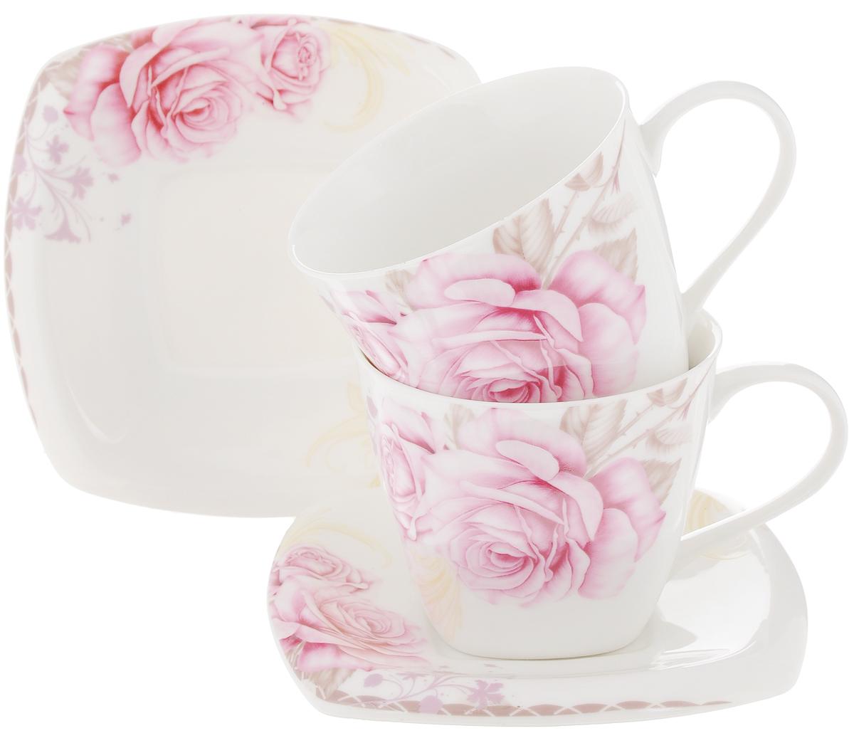 Набор чайный Patricia Розовые розы, 4 предметаVT-1520(SR)Чайный набор Patricia Розовые розы, выполненный из высококачественного фарфора, состоит из 2 чашек и 2 блюдец. Предметы набора декорированы изысканным изображением роз. Изделия прекрасно подойдут как для повседневного использования, так и для праздников. Набор Patricia Розовые розы - это не только яркий и полезный подарок для родных и близких, но и великолепное дизайнерское решение для вашей кухни или столовой. Набор имеет подарочную упаковку, задрапированную белой атласной тканью. Можно мыть в посудомоечной машине и использовать в микроволновой печи. Объем чашки: 220 мл. Диаметр чашки (по верхнему краю): 8,5 см. Высота чашки: 7,2 см. Размер блюдца: 13 х 13 см.Высота блюдца: 1,9 см.