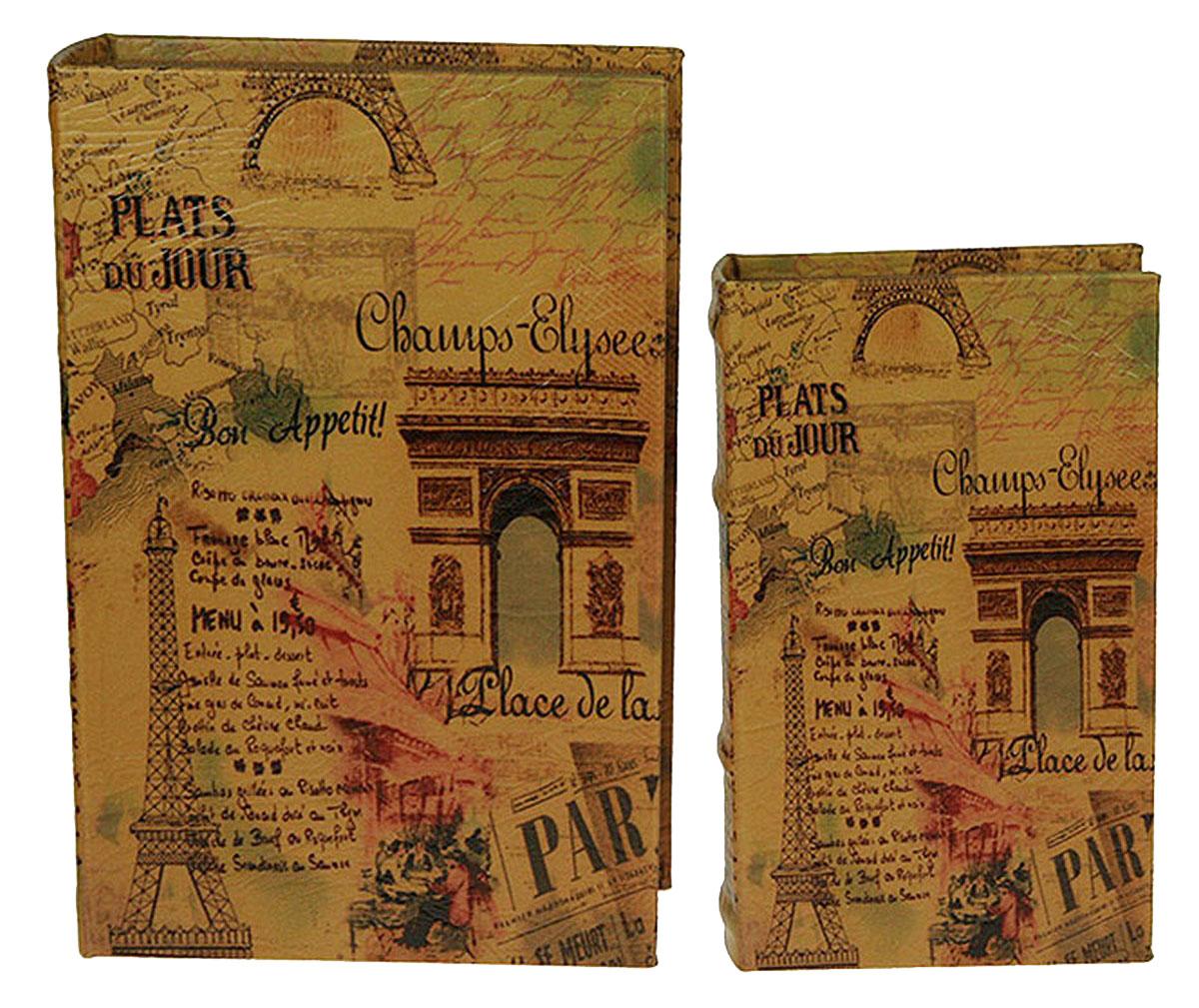 Набор шкатулок-фолиантов Win Max Франция, 2 шт, 27 х 18 х 7 см. 18424134725Набор Win Max состоит из 2 шкатулок-фолиантов. Шкатулка-фолиант выполнена в виде книги. Оригинальное оформление шкатулки, несомненно, привлечет к себе внимание.Поверхность шкатулки-фолианта выполнена из МДФ, обтянутого искусственной кожей. Внутри шкатулка отделана под дерево. Закрывается шкатулка на замок-магнит.Такая шкатулка может использоваться для хранения бижутерии, в качестве украшения интерьера, а также послужит хорошим подарком для человека, ценящего практичные и оригинальные вещи.