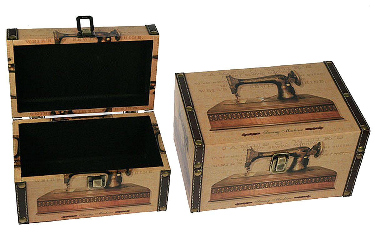 Набор сундучков Win Max, 25 х 17 х 13 см, 2 шт. 83605FS-80418Набор Win Max состоит из двух оригинальных сундучков разных размеров. Каждый сундучок выполнен из МДФ и искусственной кожи. Сундучки надежно закрываются на металлический замок. Набор сундучков Win Max, непременно, понравится всем любителям изысканных вещей. В них можно хранить памятные предметы, документы или любые другие мелочи.Сочетание оригинального дизайна и функциональности делает набор сундучков Win Max практичным и стильным подарком и предметом гордости его обладателя.