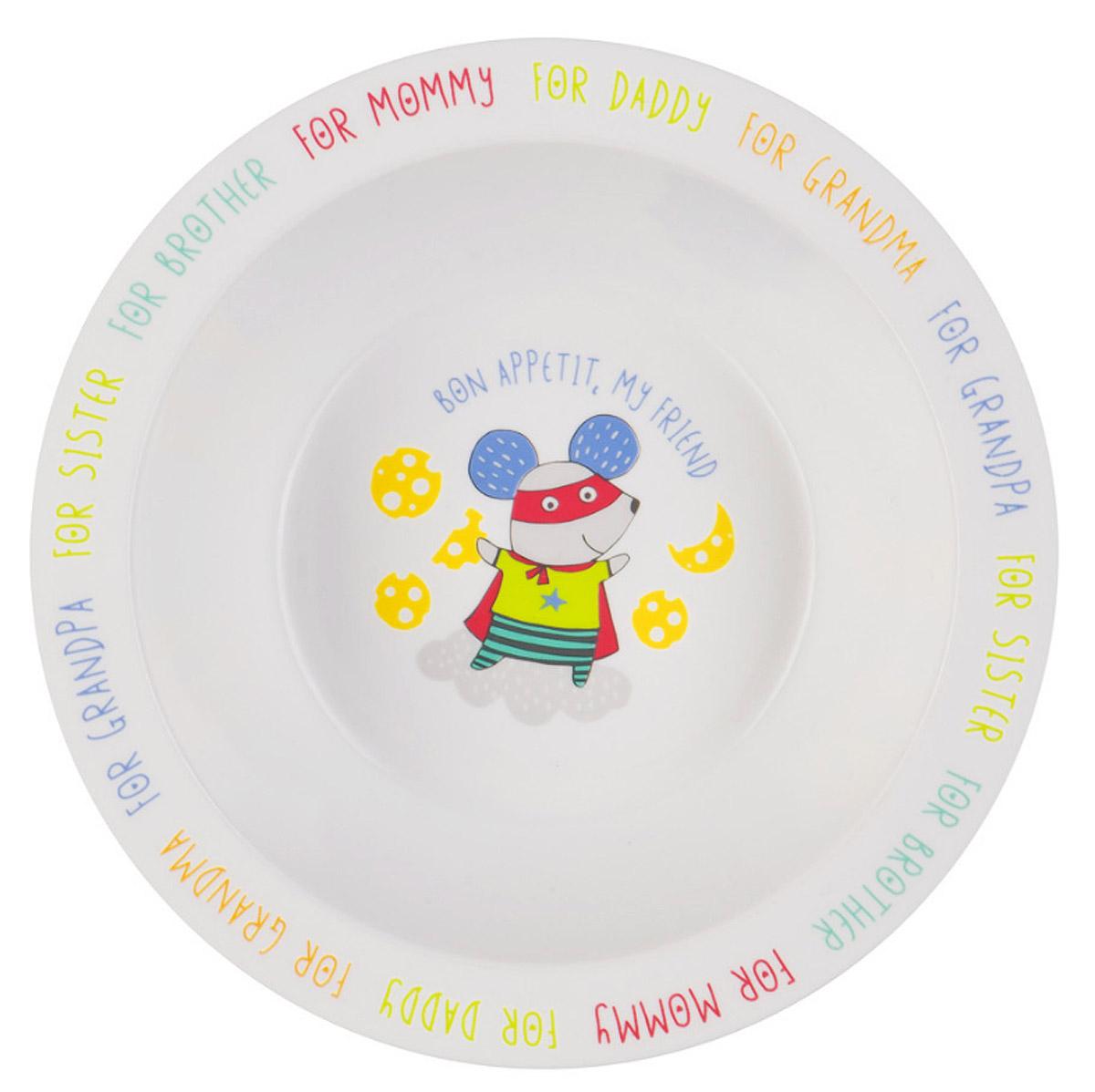 Happy Baby Тарелка глубокая для кормления с присоской Мышь цвет белый желтый15029_мышьГлубокая тарелка для кормления Happy Baby Мышь с присоской поможет приучить малыша кушать из посуды для взрослых. Выполненная из полипропилена и термопластичного эластомера, тарелка не бьется при случайном падении, имеет малый вес, широкие края. Забавная нарисованная мышка на дне тарелки поможет заинтересовать малыша процессом кормления. Широкая присоска на дне прочно фиксирует тарелку на гладкой поверхности и не позволит ее перевернуть. Не содержит бисфенол-А. Можно разогревать в СВЧ-печи и мыть в посудомоечной машине без присоски.