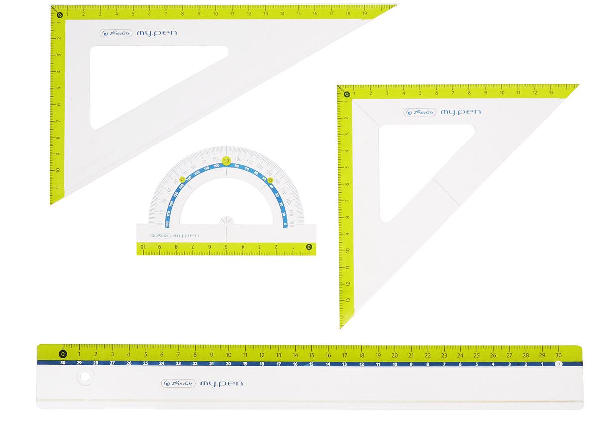Herlitz Геометрический набор цвет желтый 4 предмета0608030Геометрический набор Herlitz выполнен из прочного пластика.Набор включает в себя линейку 30 см, транспортир на 180 градусов, два треугольника (19 см, 13 см).Каждый чертежный инструмент имеет свои функциональные особенности, что делает работу с ними особенно удобной и легкой.Набор подходит для правшей илевшей.