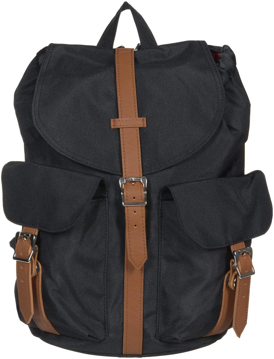 Рюкзак городской женский Herschel Dawson, цвет: черный, коричневый, 13 л. 10210-00797-OSZ90 blackСтильный женский городской рюкзак Herschel Dawson выполнен из плотного полиэстера и дополнен вставками из искусственной кожи. Изделие имеет одно основное отделение, которое закрывается на затягивающийся шнурок и дополнительно на клапан с ремешком на магнитной кнопке. Внутри расположен прорезной карман на застежке-молнии. Снаружи, на передней стенке находятся два накладных кармана, закрывающиеся на клапаны с ремешками на магнитных кнопках. На задней стенке предусмотрен прорезной мягкий карман для планшета на застежке-молнии.Рюкзак оснащен регулирующими лямками и удобной ручкой для переноски в руках. Стильный рюкзак идеально дополнит ваш образ.