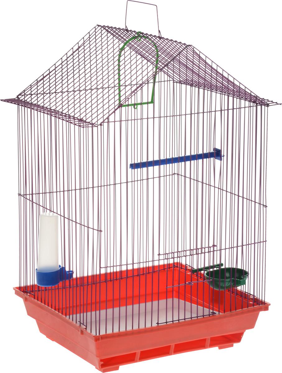 Клетка для птиц ЗооМарк, цвет: красный поддон, фиолетовая решетка, 34 x 28 х 54 см0120710Клетка ЗооМарк, выполненная из полипропилена и металла с эмалированным покрытием, предназначена для мелких птиц.Изделие состоит из большого поддона и решетки. Клетка снабжена металлической дверцей. В основании клетки находится малый поддон. Клетка удобна в использовании и легко чистится. Она оснащена жердочкой, кольцом для птицы, поилкой, кормушкой и подвижной ручкой для удобной переноски. Комплектация: - клетка с поддоном, - малый поддон; - поилка; - кормушка;- кольцо.Размер клетки: 34 см x 28 см х 54 см.